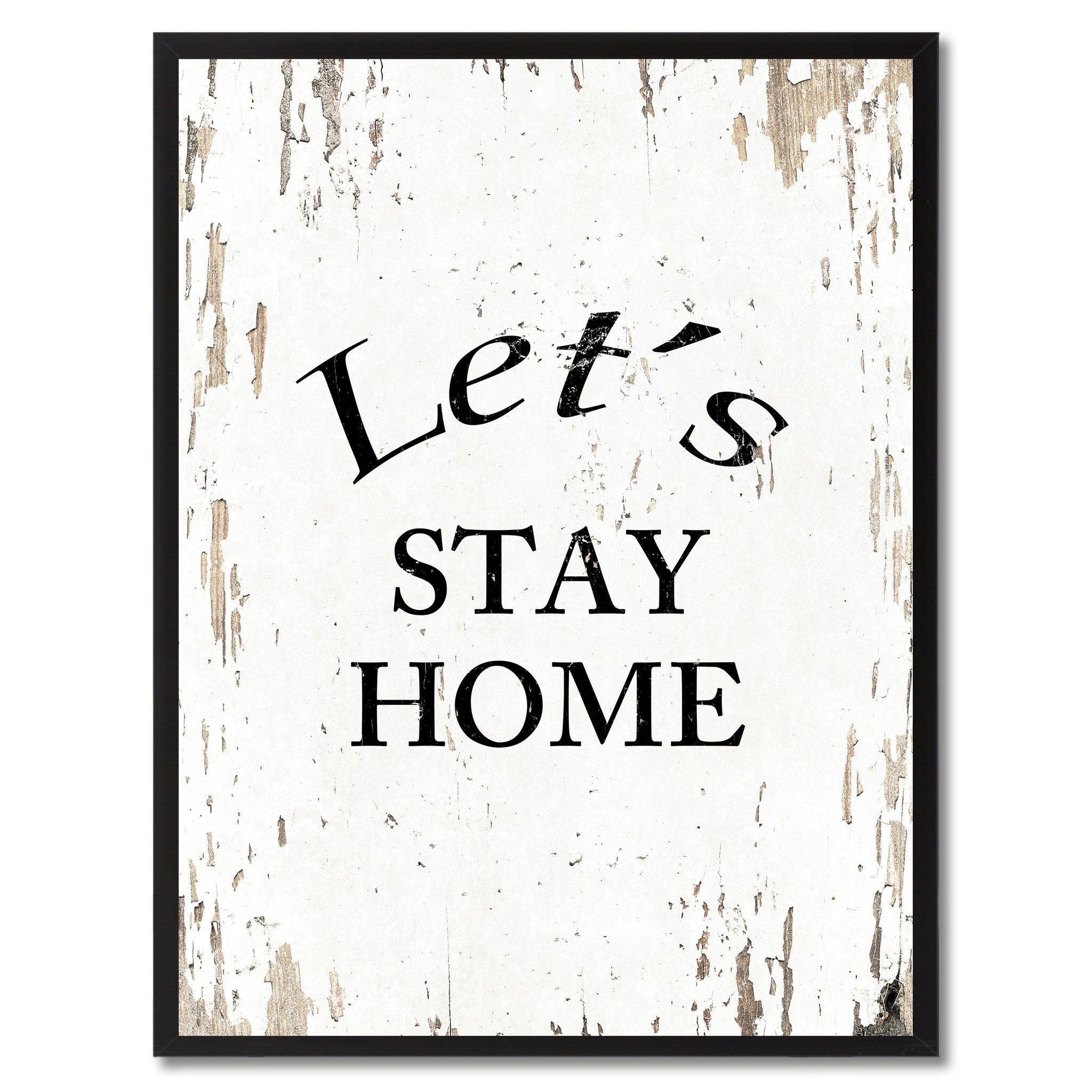 Let's Stay Home Saying Canvas Print, Black Picture Frame Home Decor Wall Art Gifts