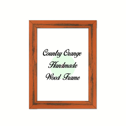 Country Orange Wood Frame Wholesale Farmhouse Shabby Chic Picture Photo Poster Art Home Decor