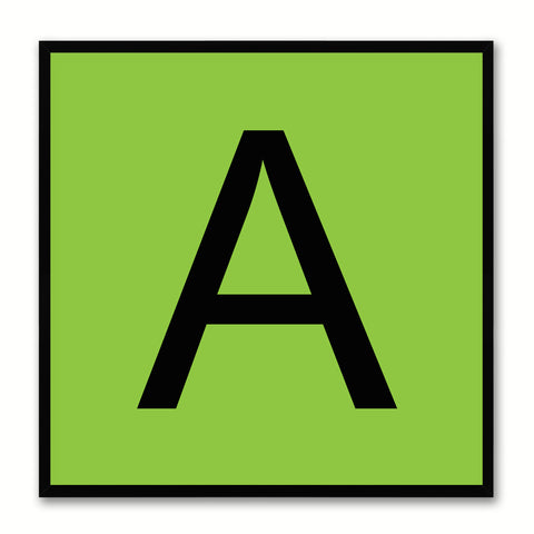 Alphabet A Green Canvas Print Black Frame Kids Bedroom Wall Décor Home Art