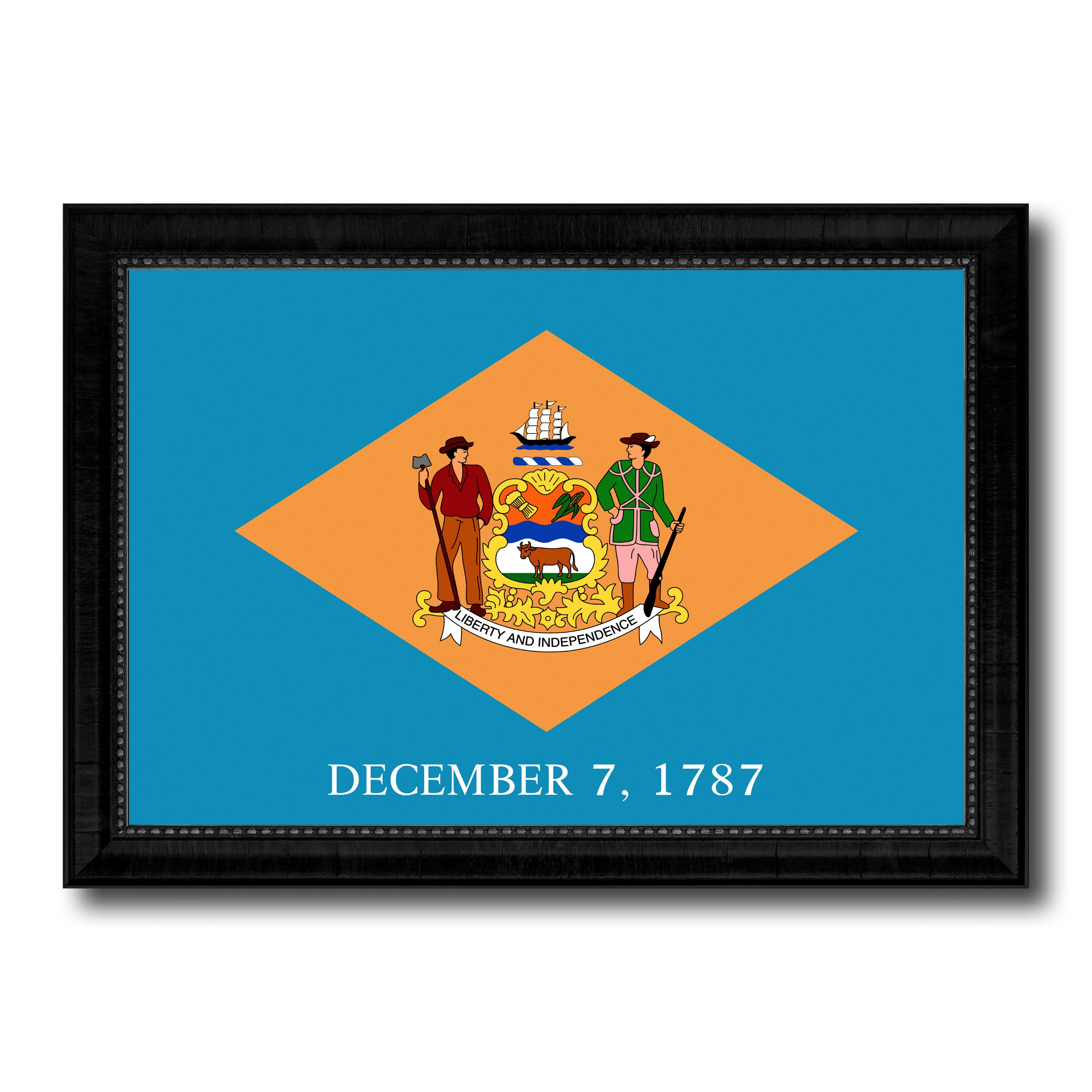 Delaware State Flag Canvas Print with Custom Black Picture Frame Home Decor Wall Art Decoration Gifts