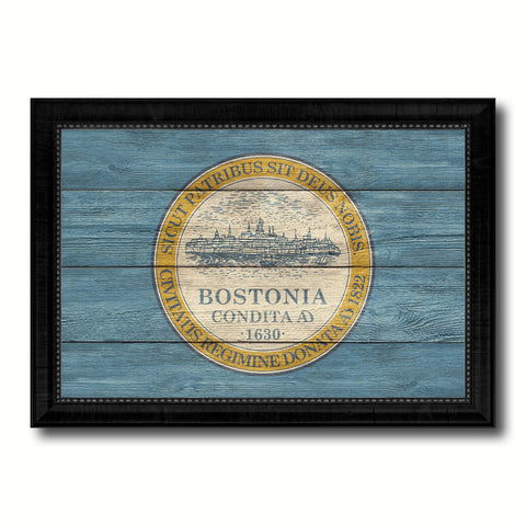 Boston City Massachusetts State Texture Flag Canvas Print Black Picture Frame