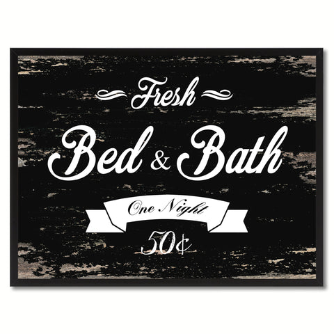Fresh Bed & Bath Vintage Sign Black Canvas Print Home Decor Wall Art Gifts Picture Frames