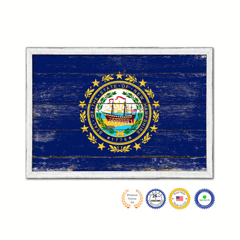 New Hampshire State Flag Shabby Chic Gifts Home Decor Wall Art Canvas Print, White Wash Wood Frame