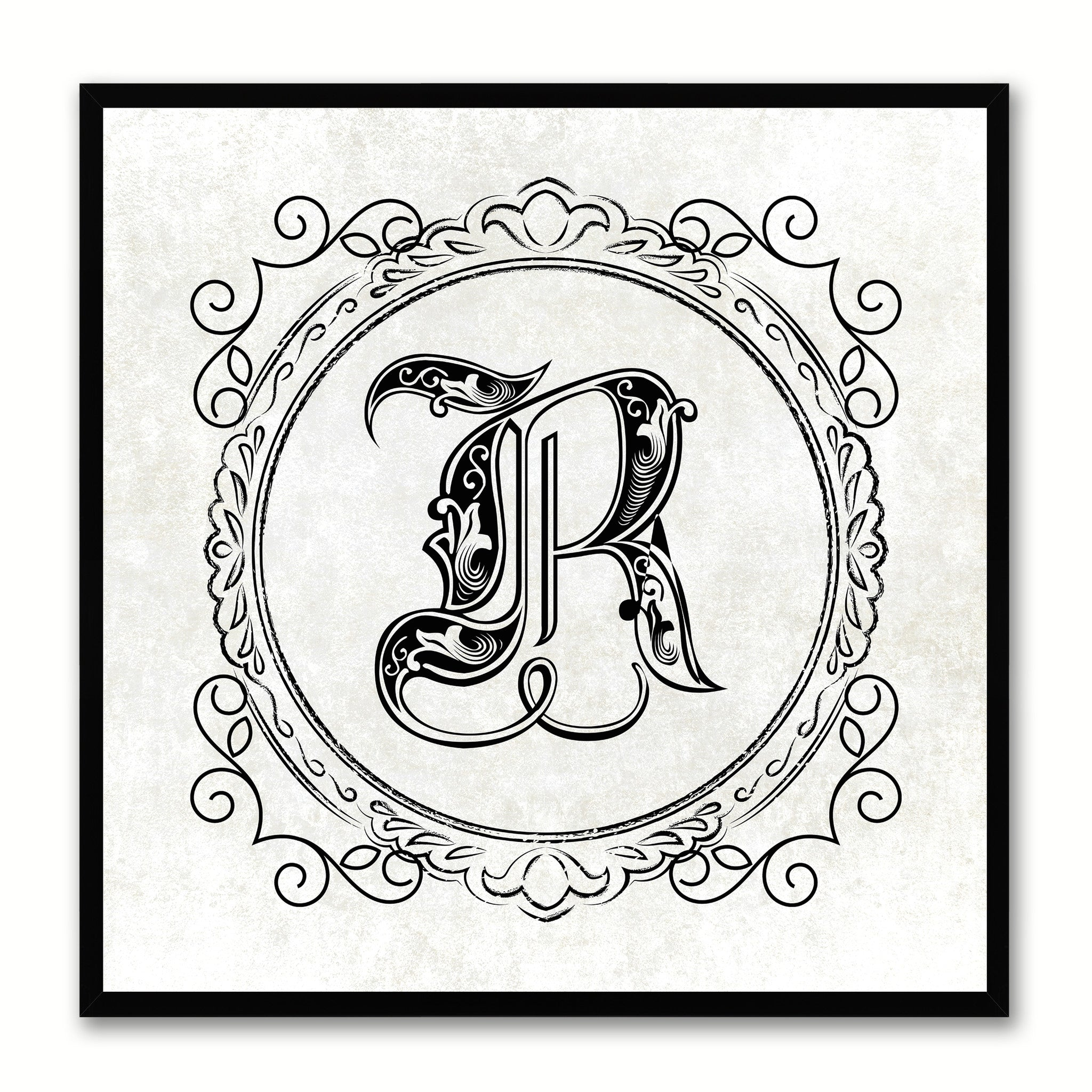 Alphabet R White Canvas Print Black Frame Kids Bedroom Wall Décor Home Art