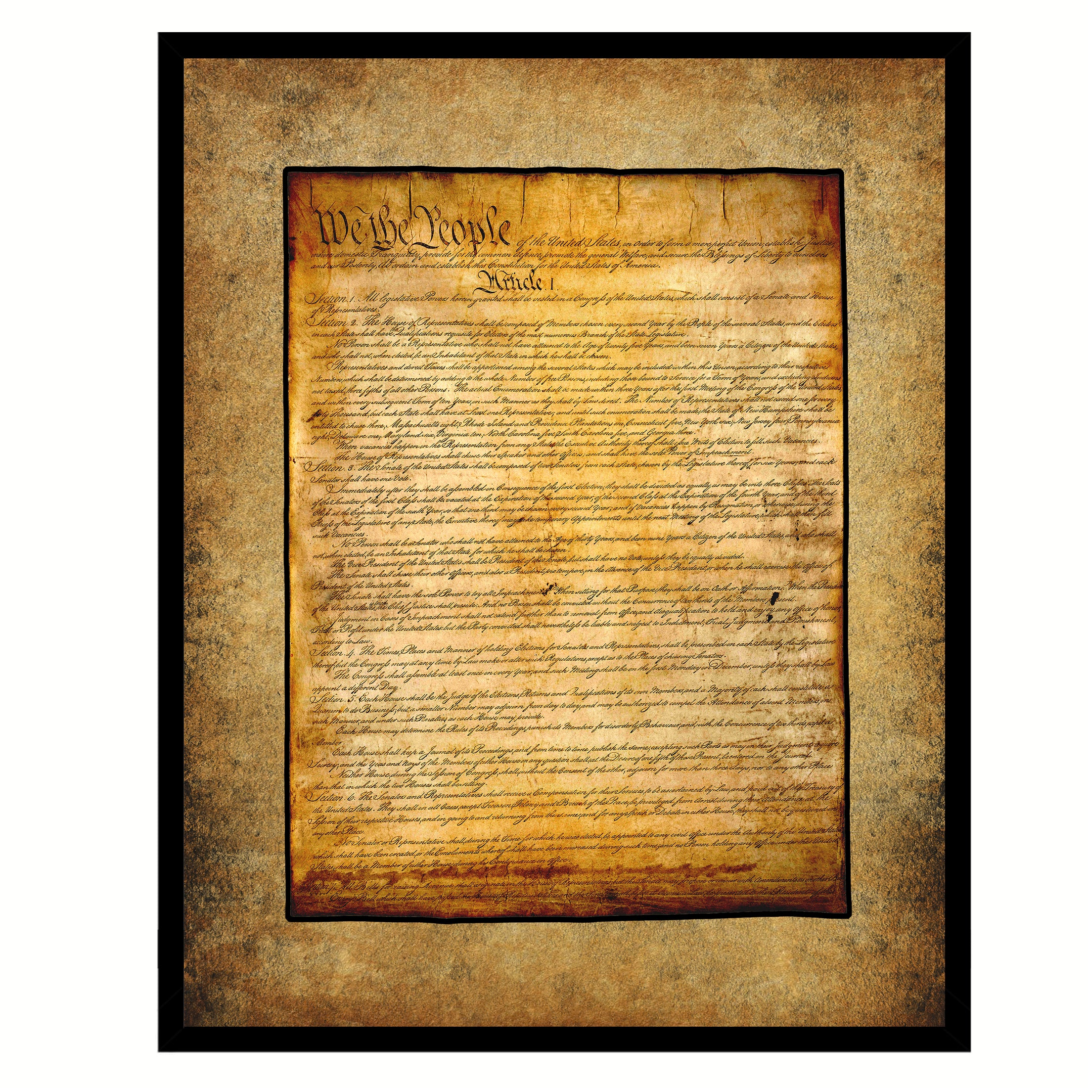 Constitution We The People Canvas Print Home Decor Wall Art, Brown, Black Framed