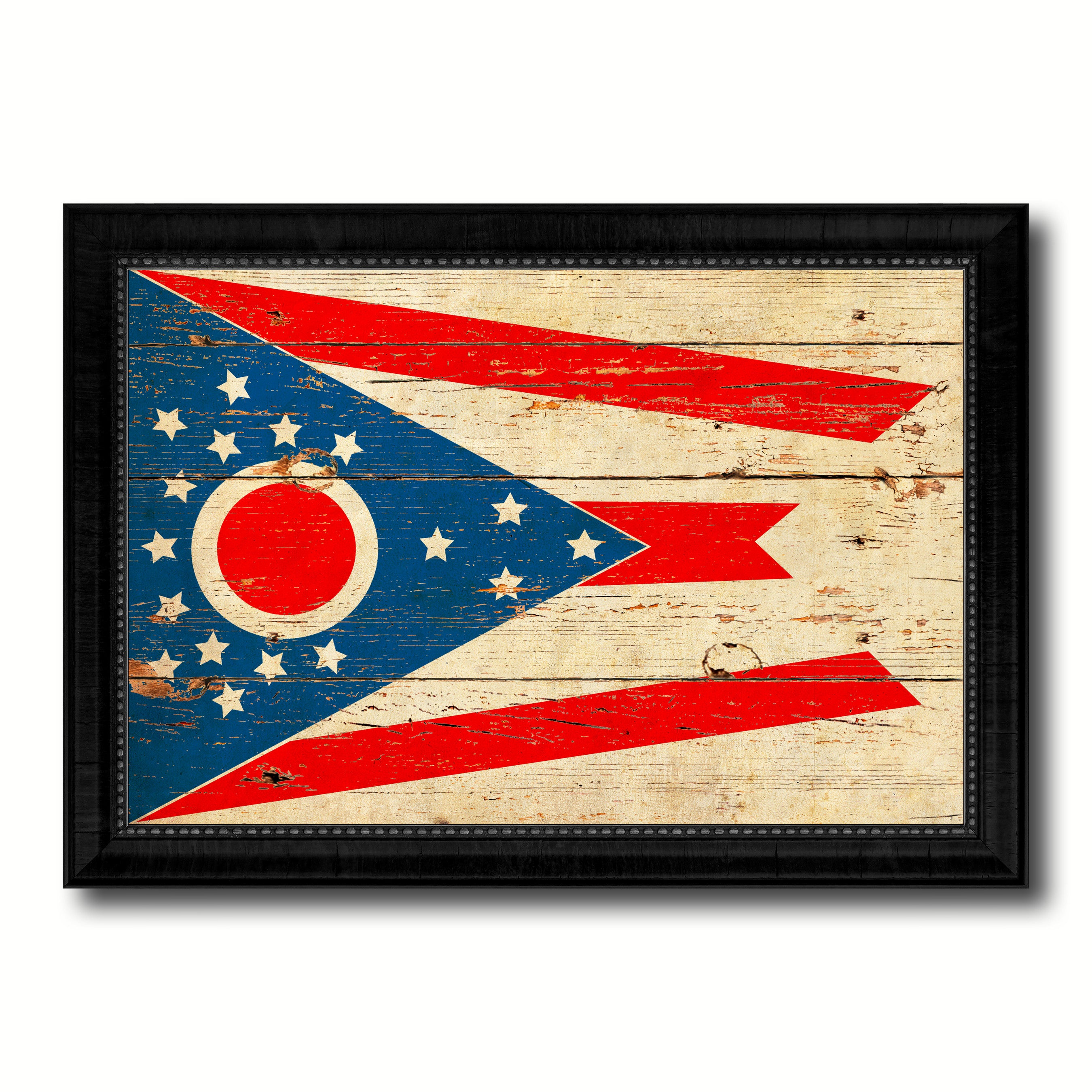 Ohio State Vintage Flag Canvas Print with Black Picture Frame Home Decor Man Cave Wall Art Collectible Decoration Artwork Gifts