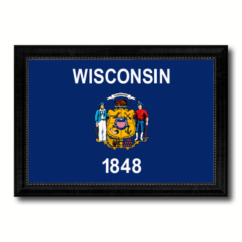 Wisconsin State Flag Canvas Print with Custom Black Picture Frame Home Decor Wall Art Decoration Gifts