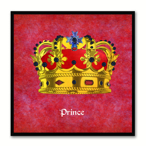 Prince Red Canvas Print Black Frame Kids Bedroom Wall Home Décor
