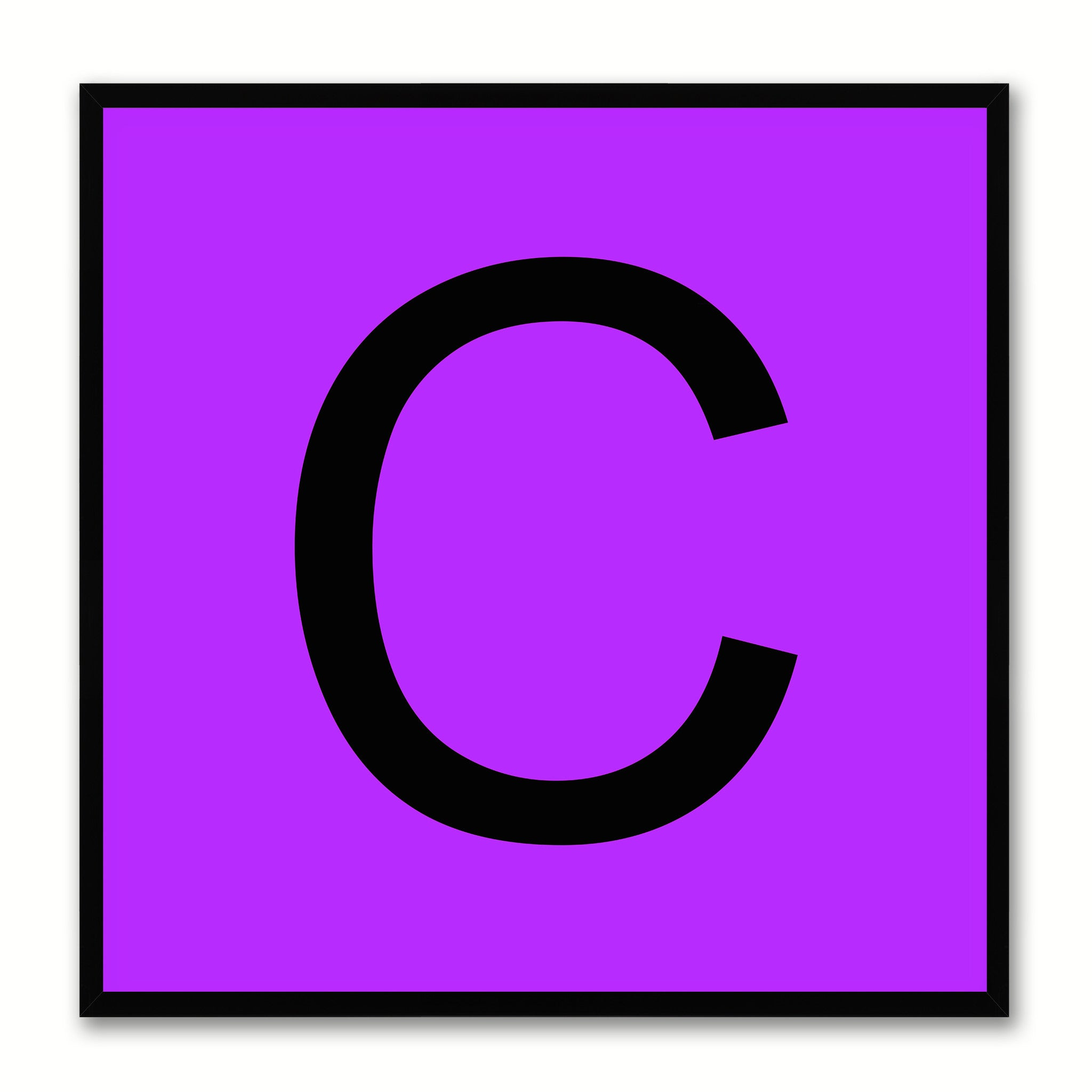 Alphabet C Purple Canvas Print Black Frame Kids Bedroom Wall Décor Home Art