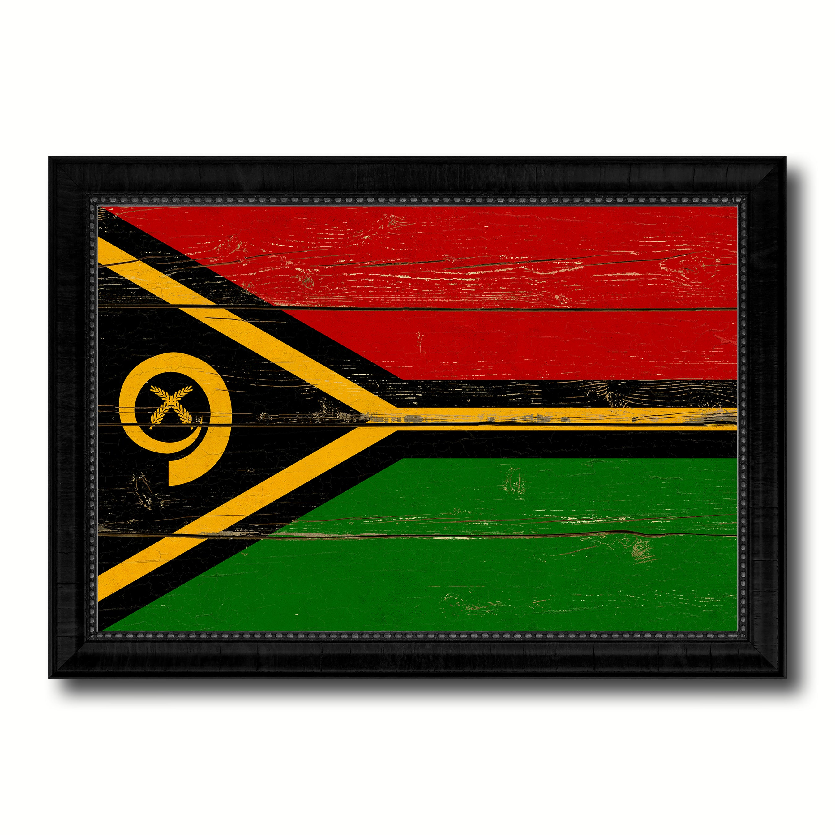 Vanuatu Country Flag Vintage Canvas Print with Black Picture Frame Home Decor Gifts Wall Art Decoration Artwork
