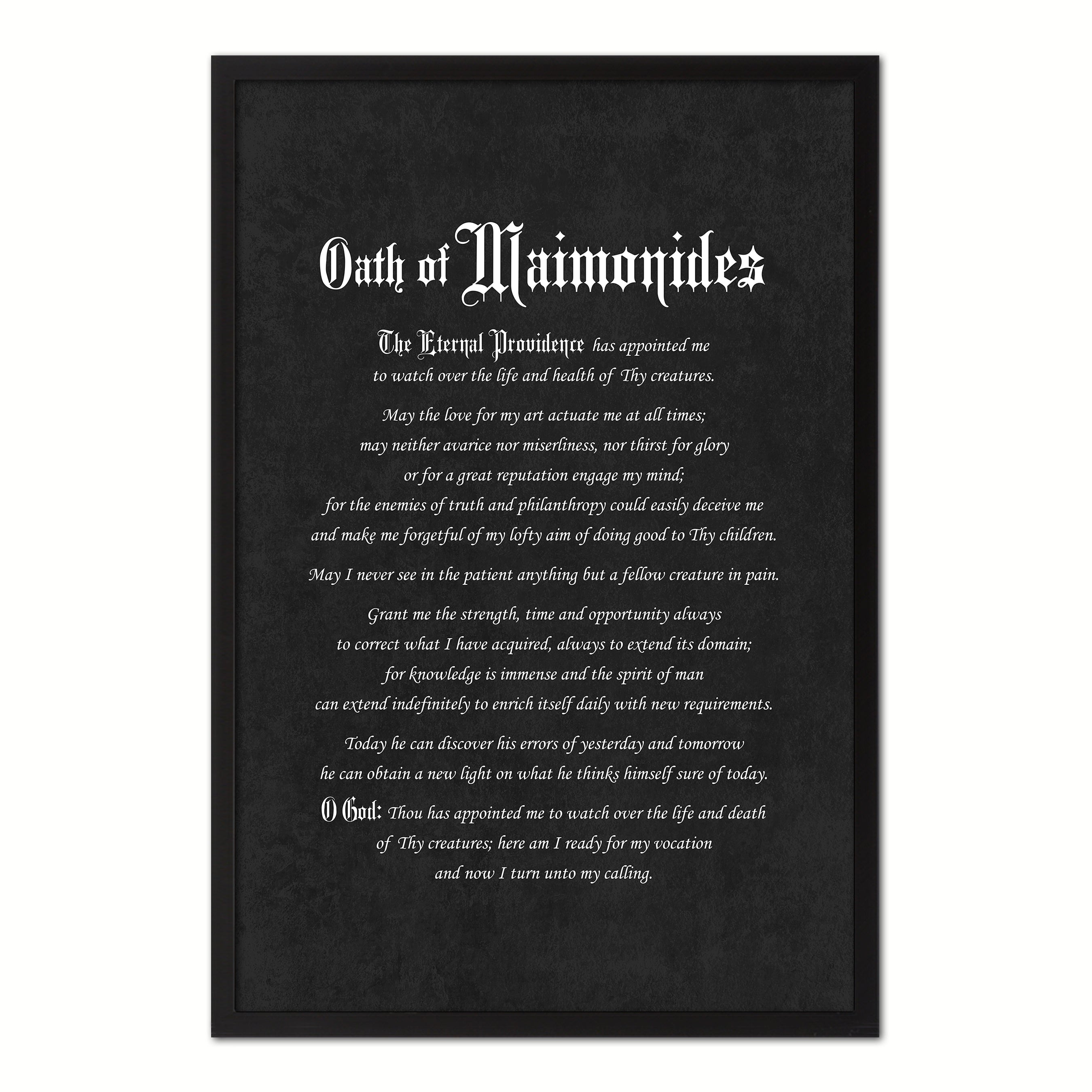 Maimonides Medical Oath, Hippocratic Oath, Medical Gifts, Gift for Doctor, Medical Decor, Medical Student, Office Decor, doctor office, Black Frame