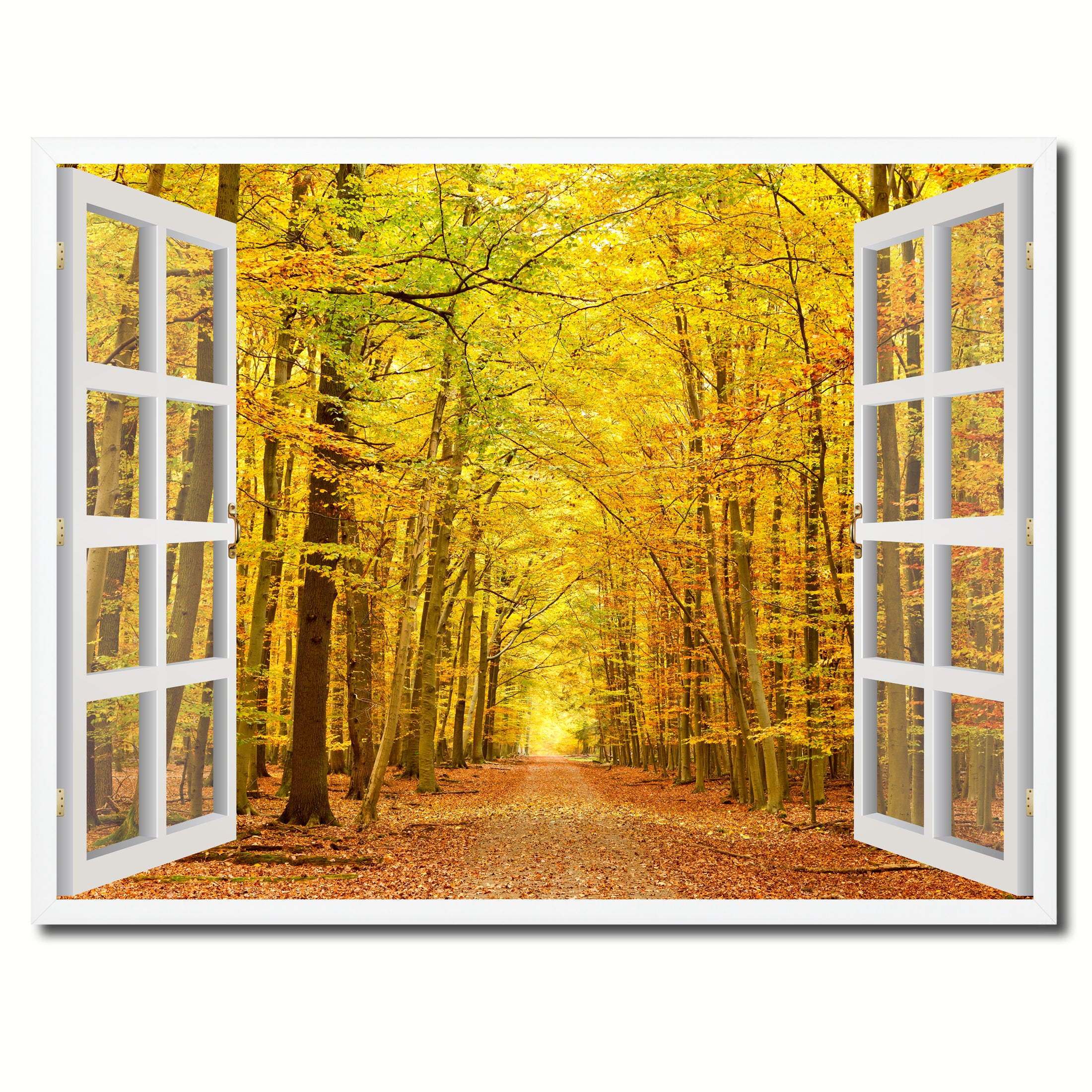 Pathway Autumn Park Yellow Leaves Picture Window Wall Art Home Decor ...