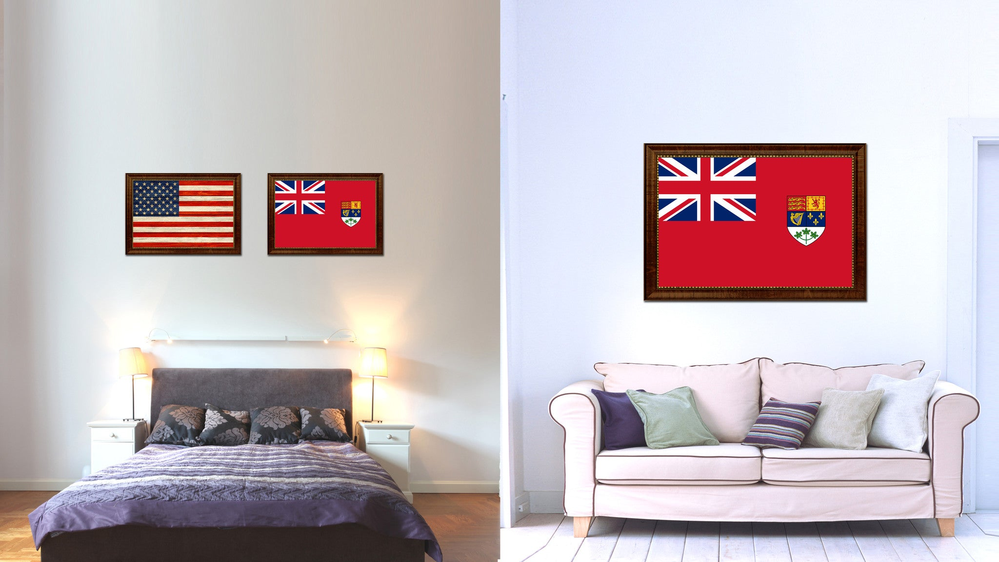Canadian Red Ensign City Canada Country Flag Canvas Print Brown Picture Frame