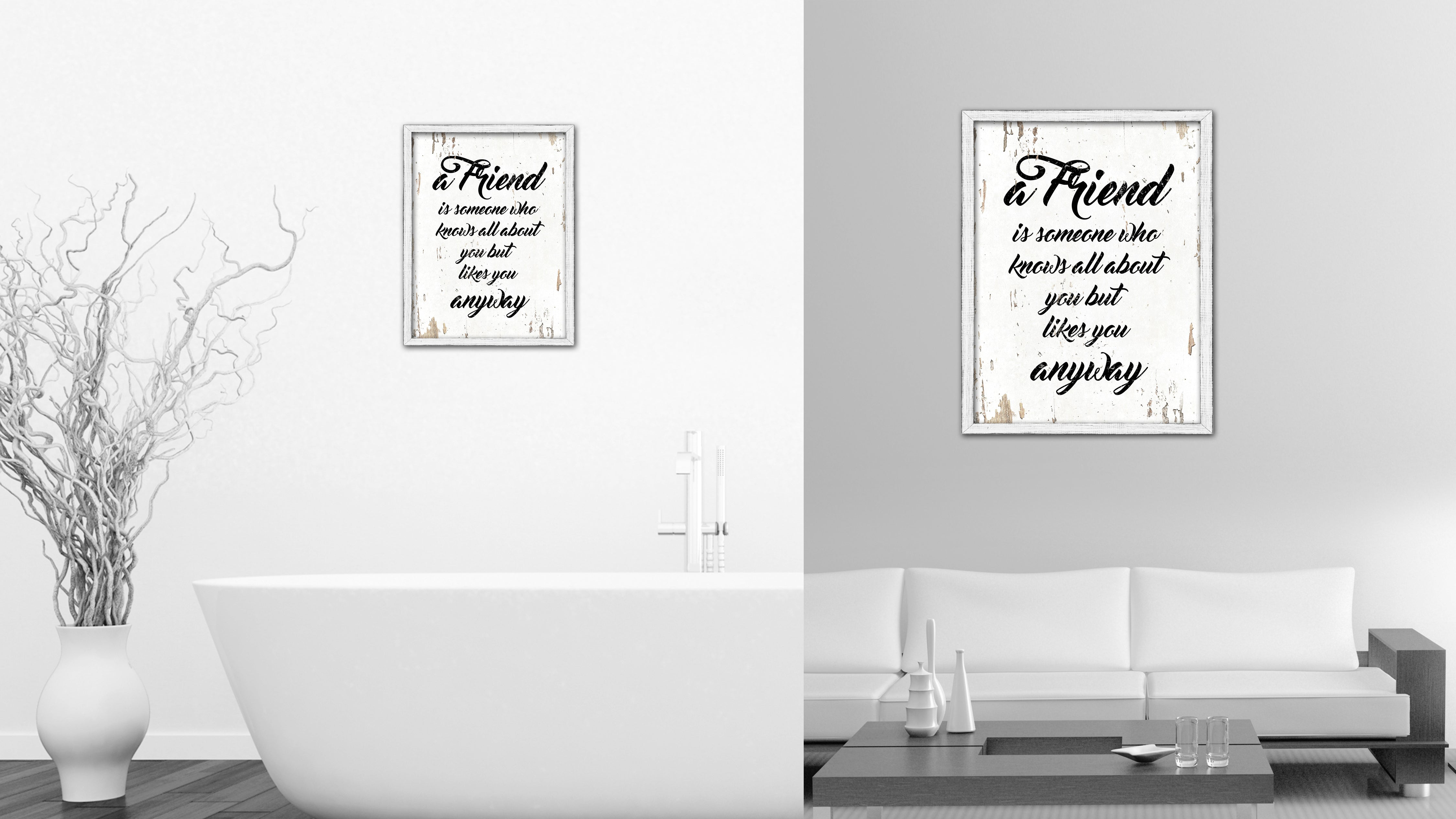 a friend is someone who knows all about you vintage saying gifts home decor wall art