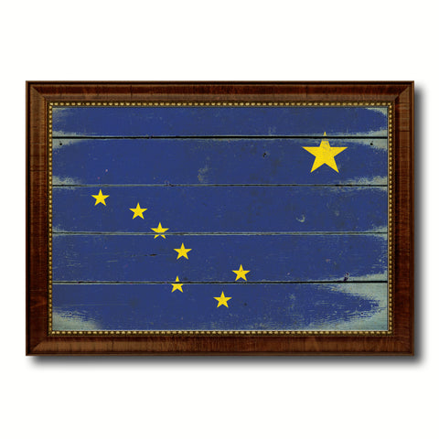 Alaska State Vintage Flag Canvas Print with Brown Picture Frame Home Decor Man Cave Wall Art Collectible Decoration Artwork Gifts