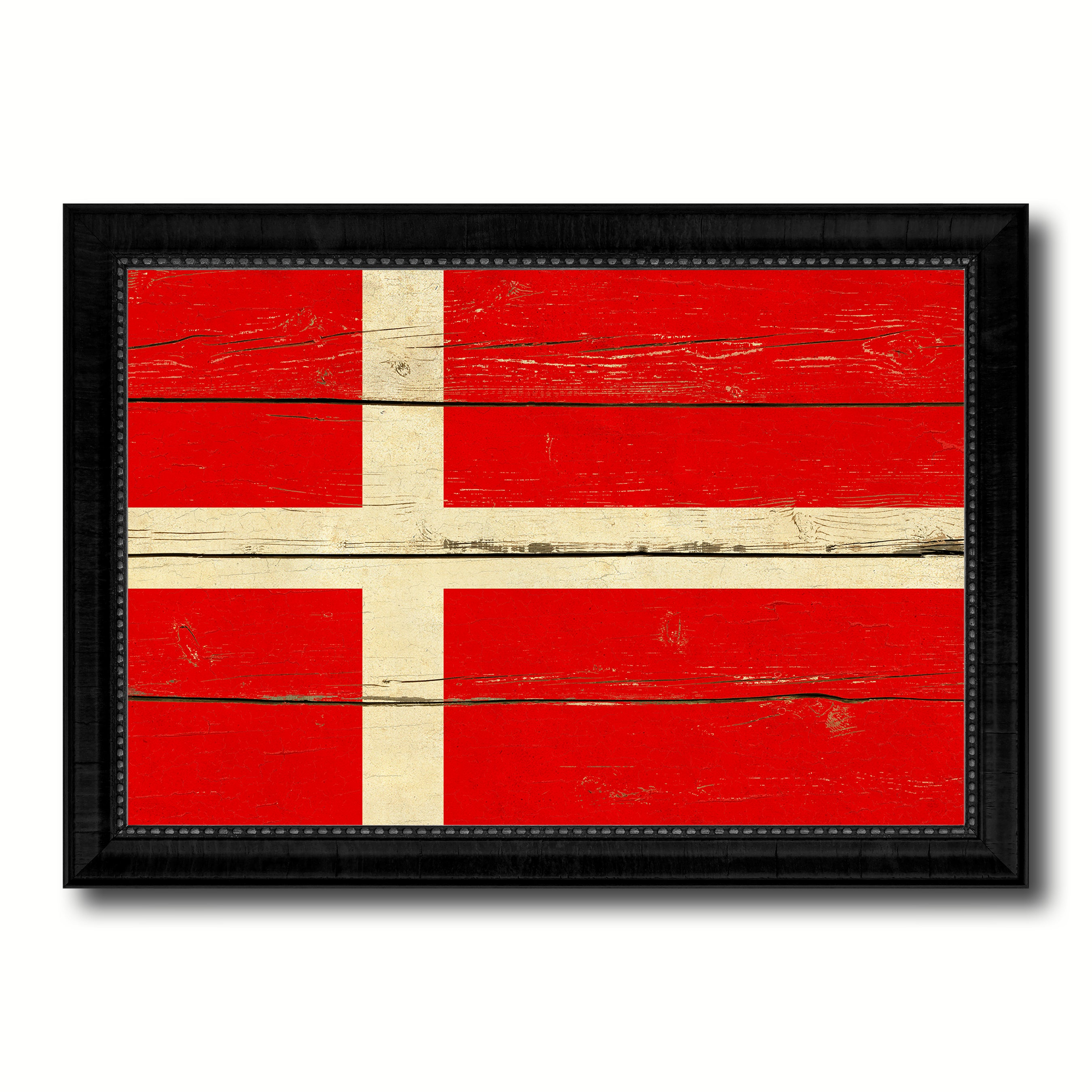 Denmark Country Flag Vintage Canvas Print with Black Picture Frame Home Decor Gifts Wall Art Decoration Artwork