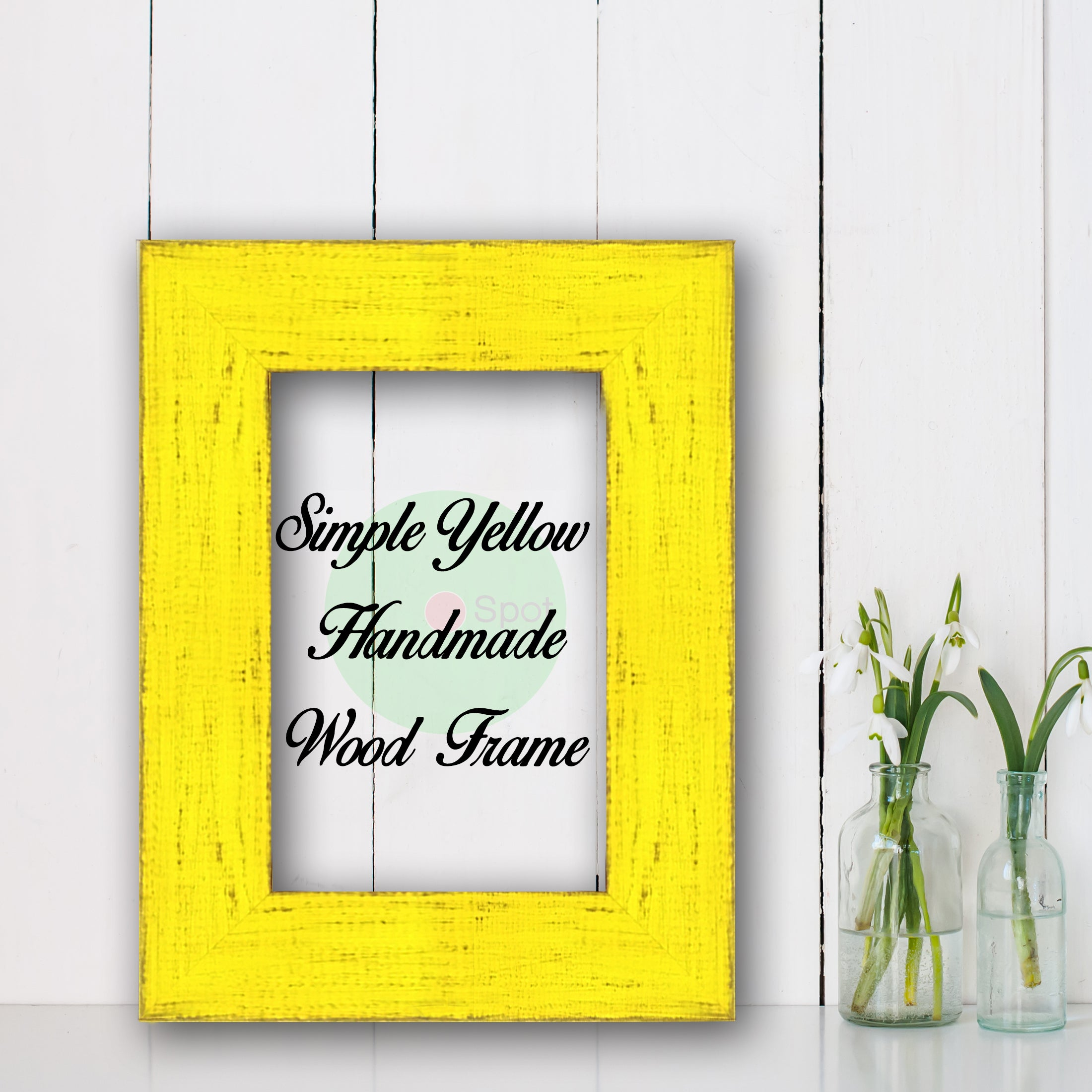Simple Yellow Shabby Chic Home Decor Custom Frame Great for Farmhouse Vintage Rustic Wood Picture Frame