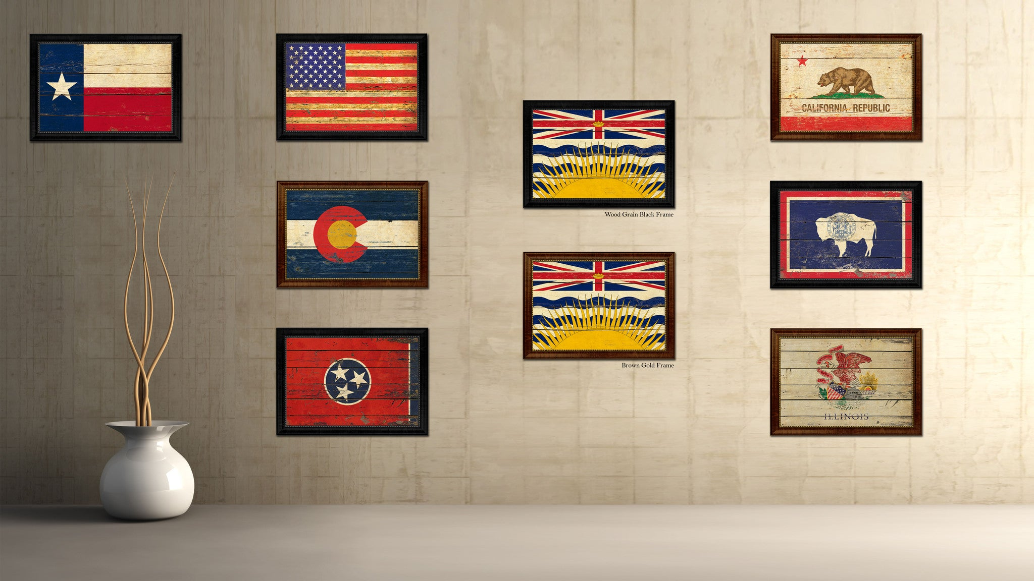 British Columbia Province City Canada Country Vintage Flag Canvas Print Brown Picture Frame