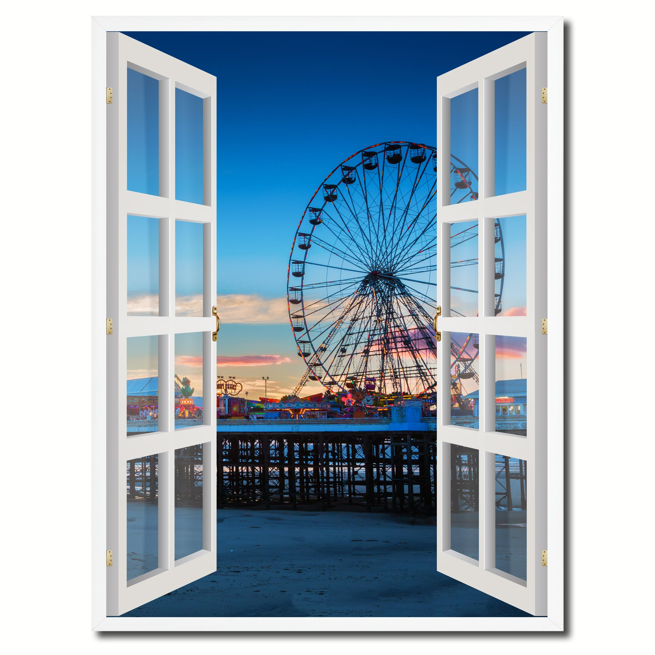 Sunset View Ferris Wheel Picture Window Wall Art Home Decor Gift ...