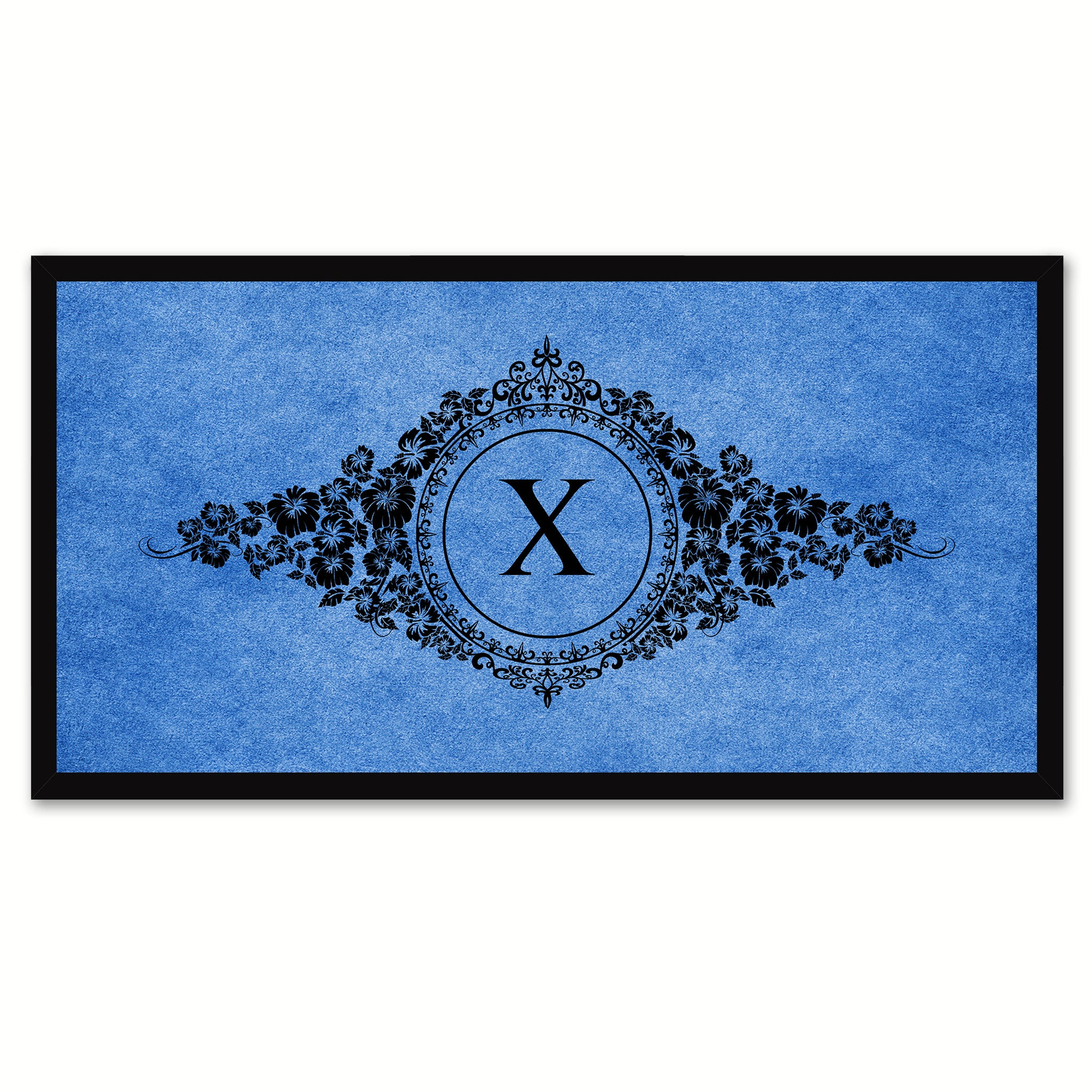Alphabet Letter X Blue Canvas Print, Black Custom Frame