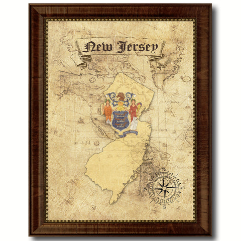 New Jersey State Vintage Map Home Decor Wall Art Office Decoration Gift Ideas