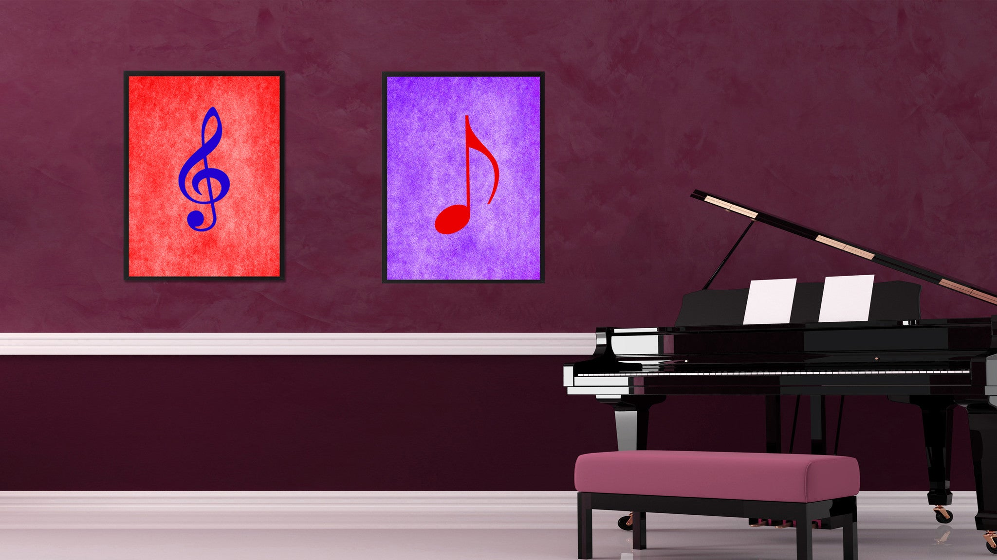 Quaver Music Purple Canvas Print Pictures Frames Office Home Décor Wall Art Gifts