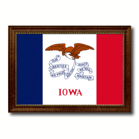 Iowa State Flag Canvas Print with Custom Brown Picture Frame Home Decor Wall Art Decoration Gifts