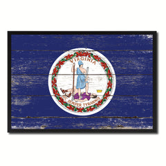 Virginia State Flag Vintage Canvas Print with Black Picture Frame Home DecorWall Art Collectible Decoration Artwork Gifts