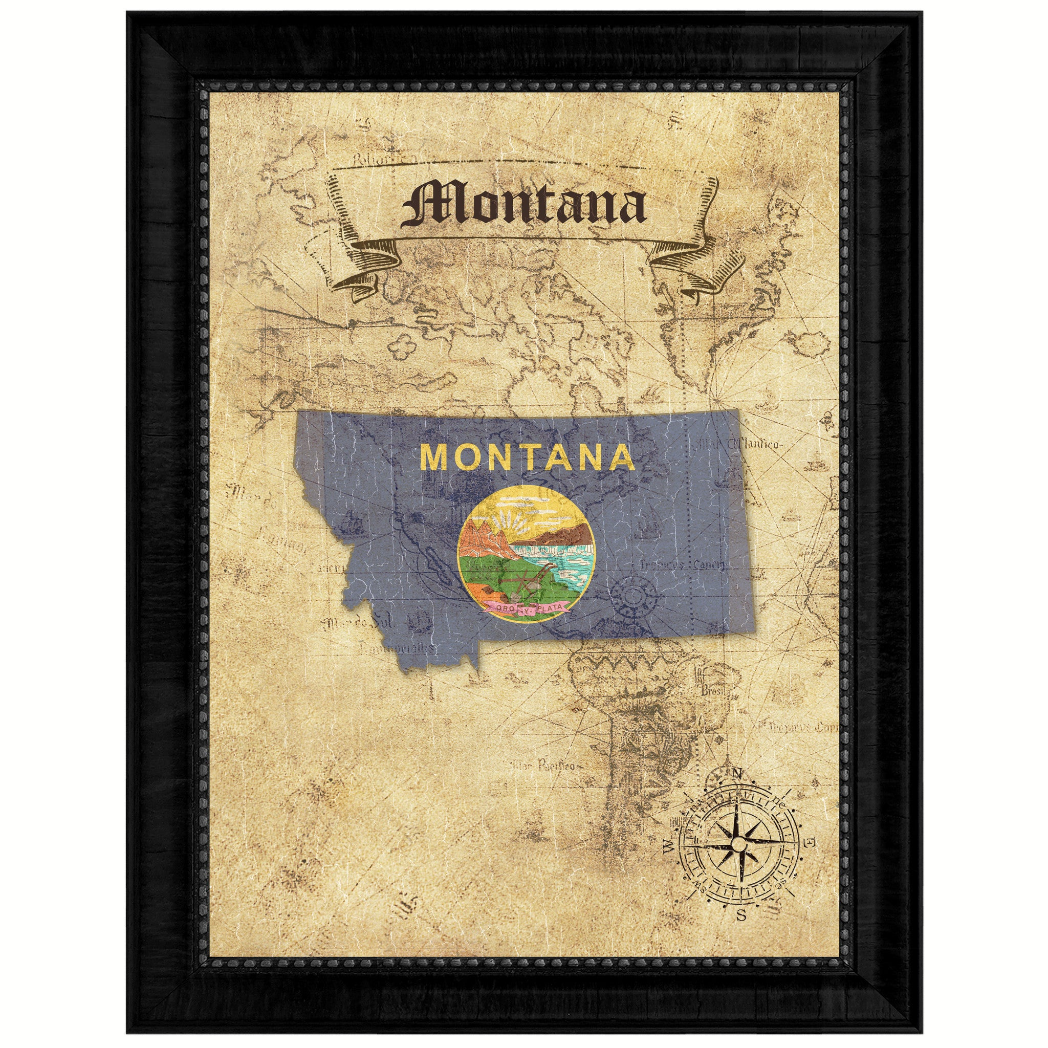 Montana State Vintage Map Gifts Home Decor Wall Art Office Decoration