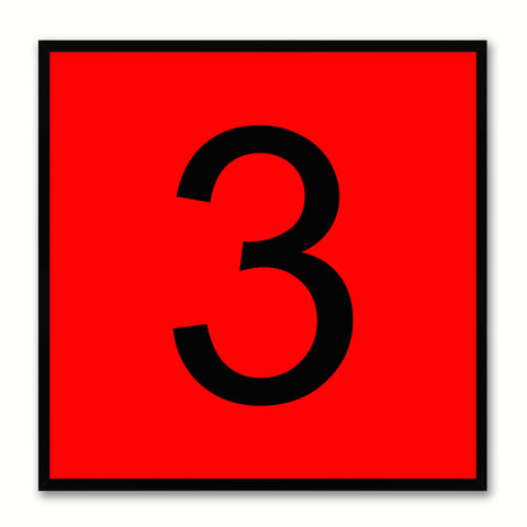 Number 3 Red Canvas Print Black Frame Kids Bedroom Wall Décor Home Art