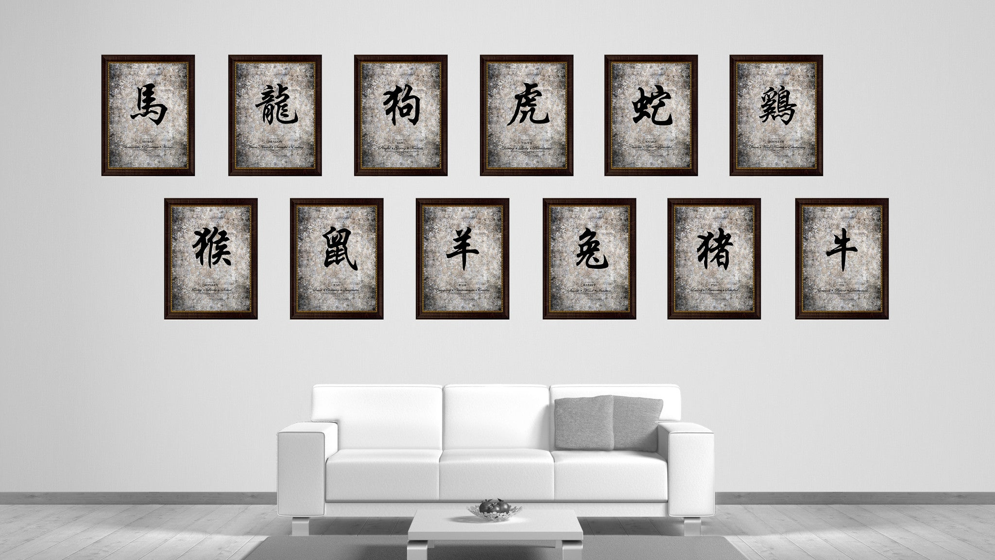 rat chinese zodiac character decorative wall art home décor  - rat zodiac character canvas print brown picture frame home decor wall artgift ideas