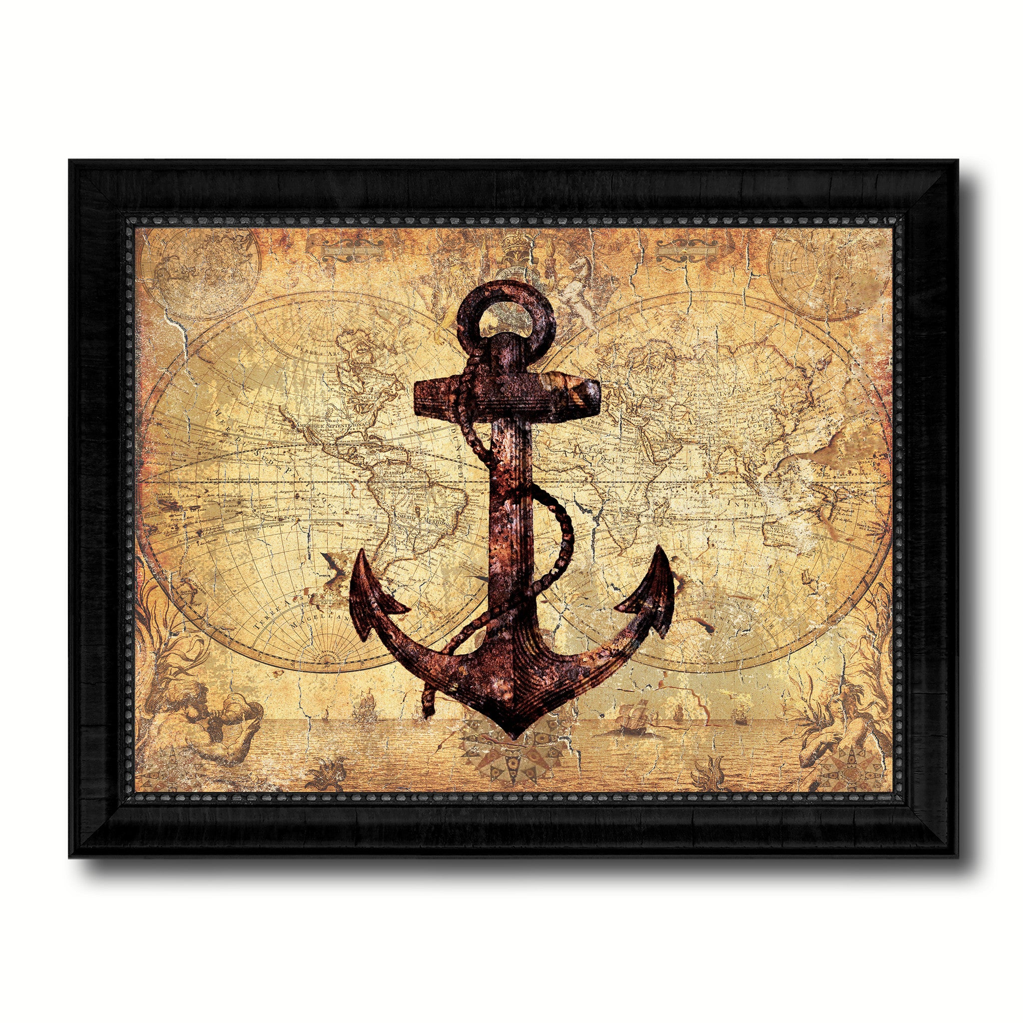 Anchor Vintage Nautical Map Home Decor Wall Art Livingroom ...