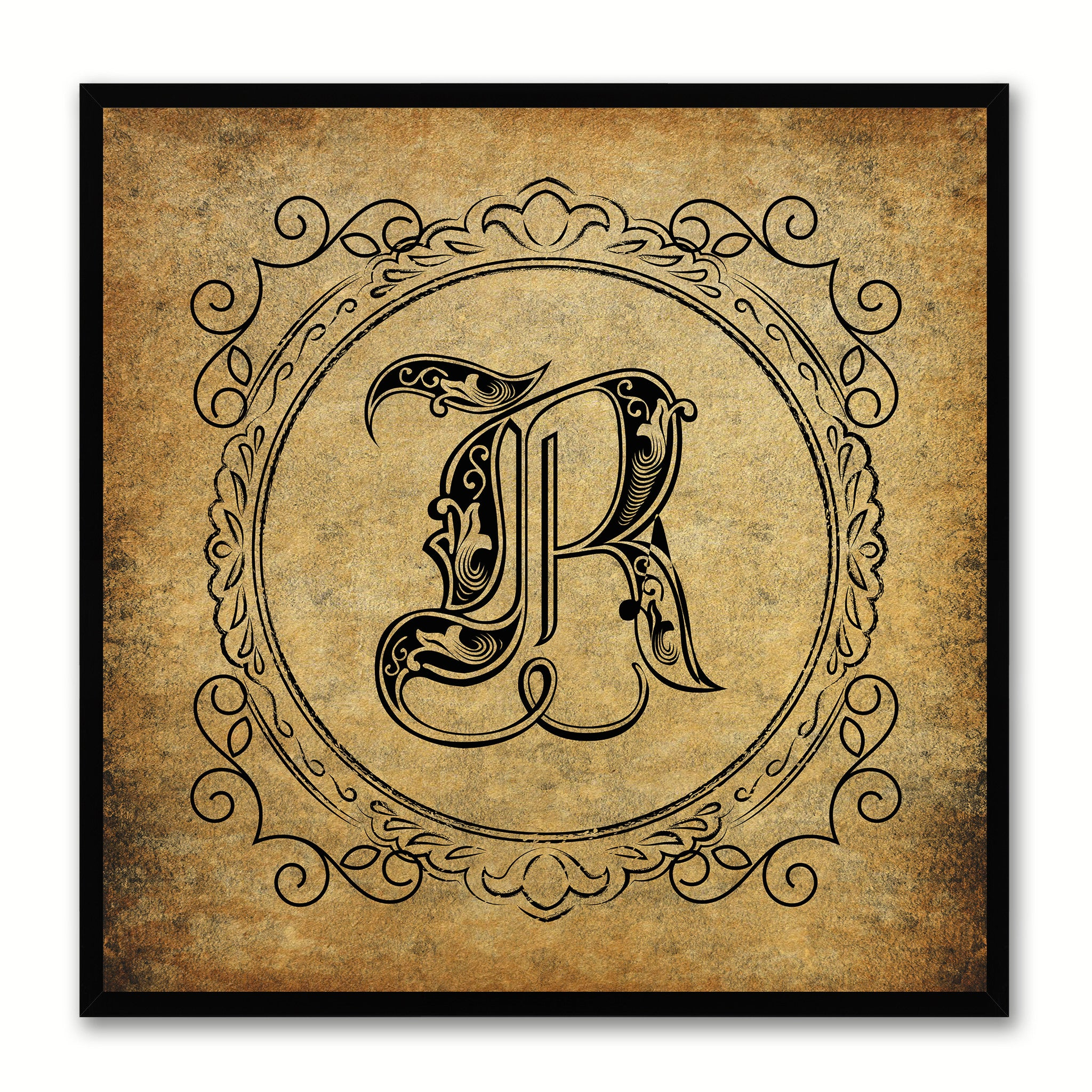 Alphabet R Brown Canvas Print Black Frame Kids Bedroom Wall Décor Home Art
