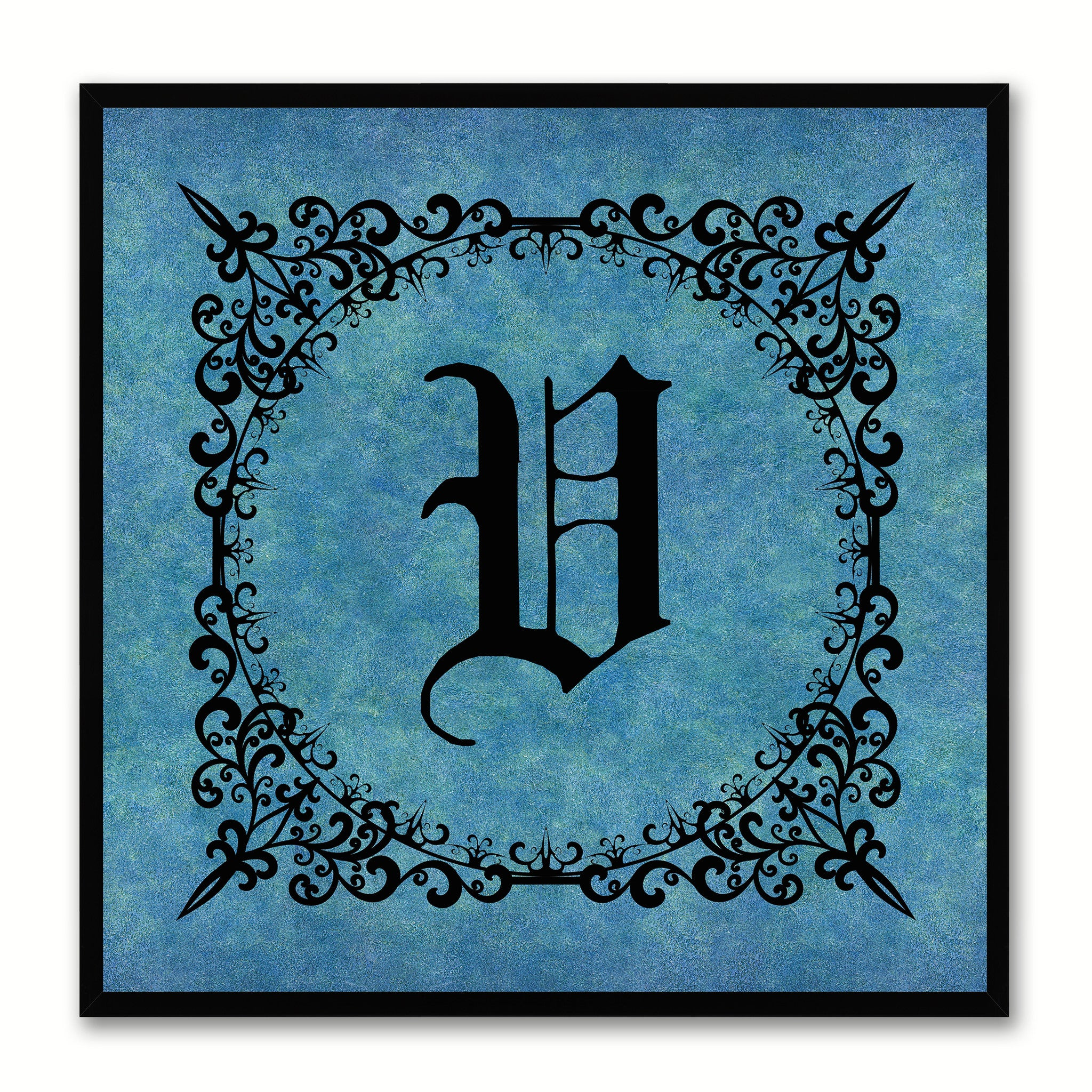 Alphabet V Blue Canvas Print Black Frame Kids Bedroom Wall Décor Home Art