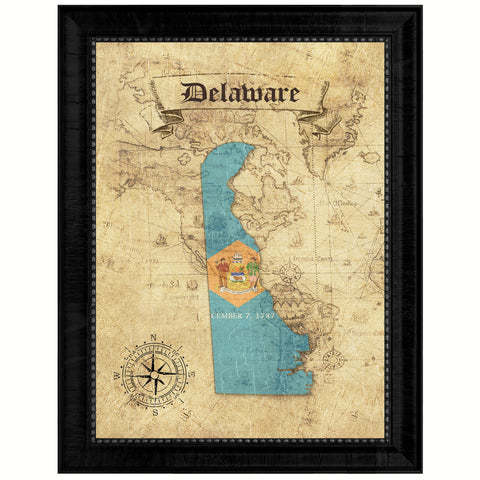 Delaware State Vintage Map Gifts Home Decor Wall Art Office Decoration