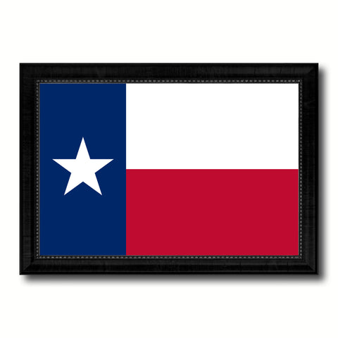 Texas State Flag Canvas Print with Custom Black Picture Frame Home Decor Wall Art Decoration Gifts