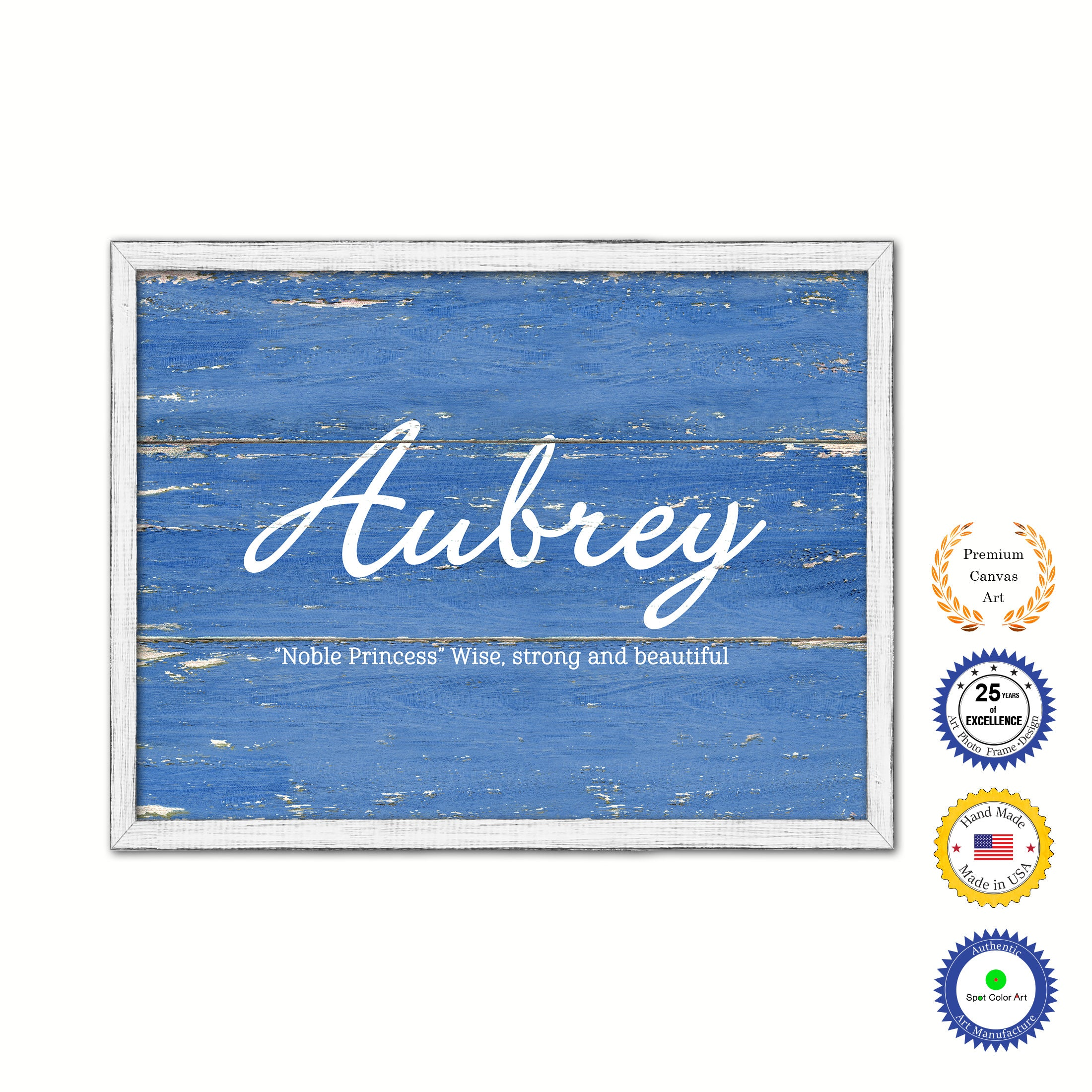 Aubrey Name Plate White Wash Wood Frame Canvas Print Boutique Cottage Decor Shabby Chic