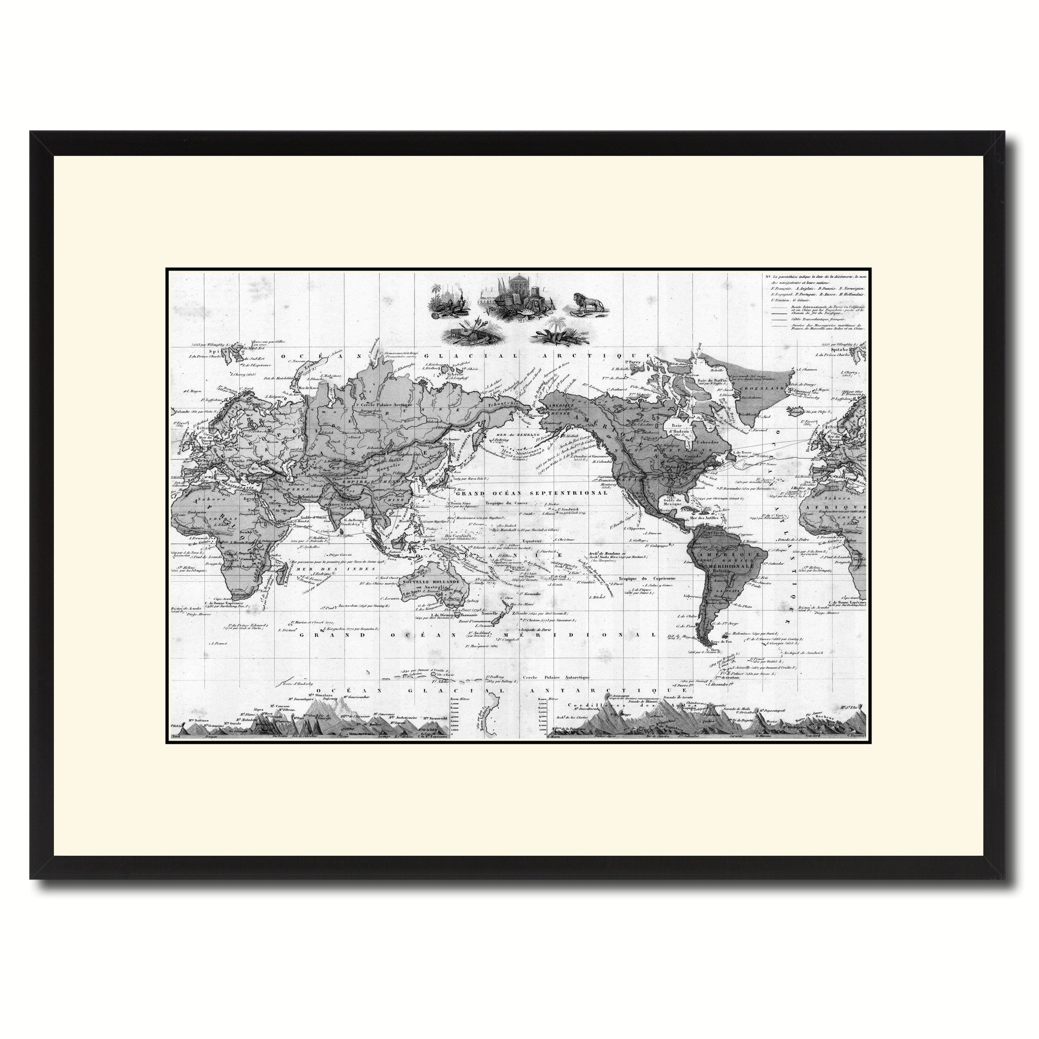 world vintage b w map canvas print picture frame home decor wall art gift ideas ebay. Black Bedroom Furniture Sets. Home Design Ideas