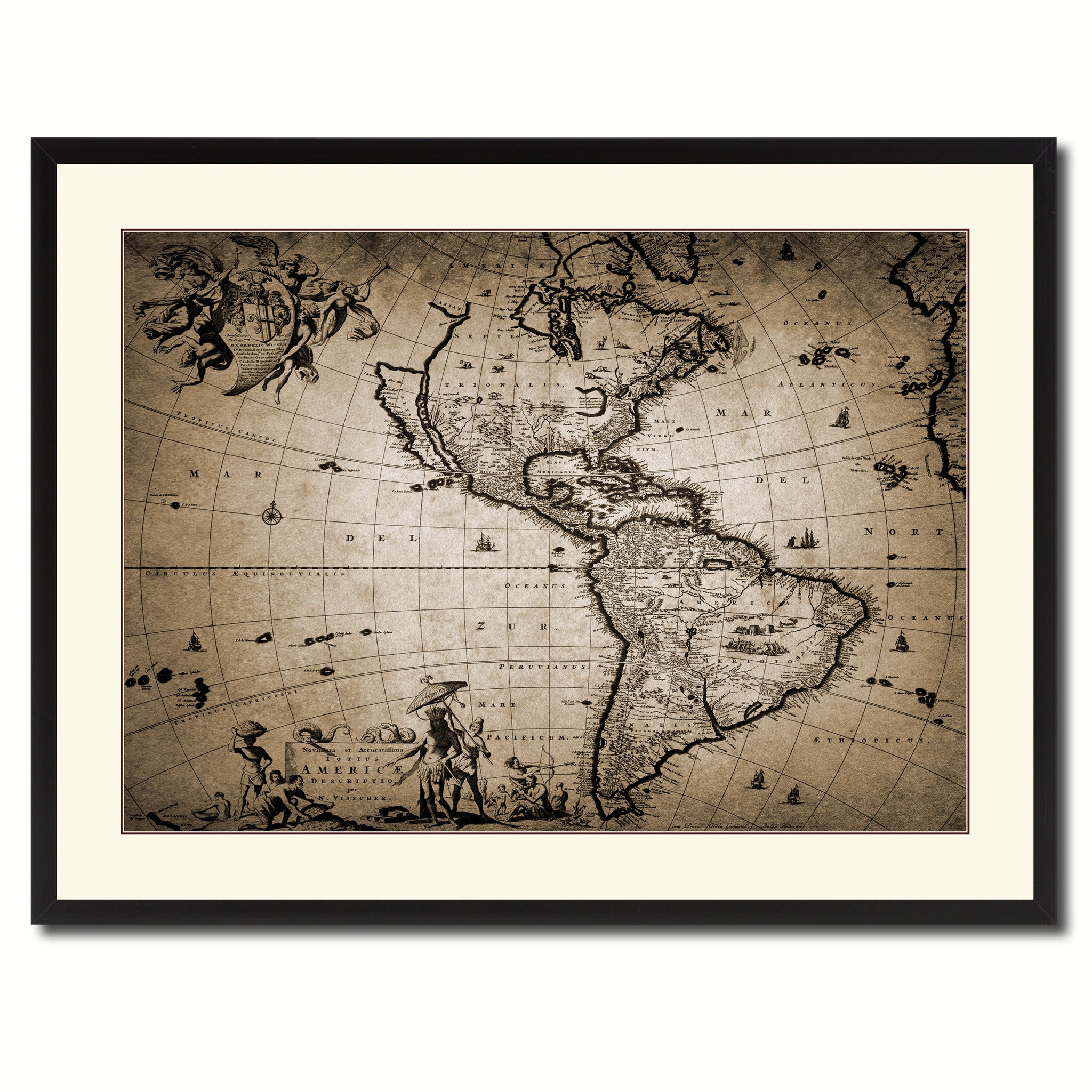 America Vintage Sepia Map Canvas Print, Picture Frame Gifts Home Decor Wall Art Decoration