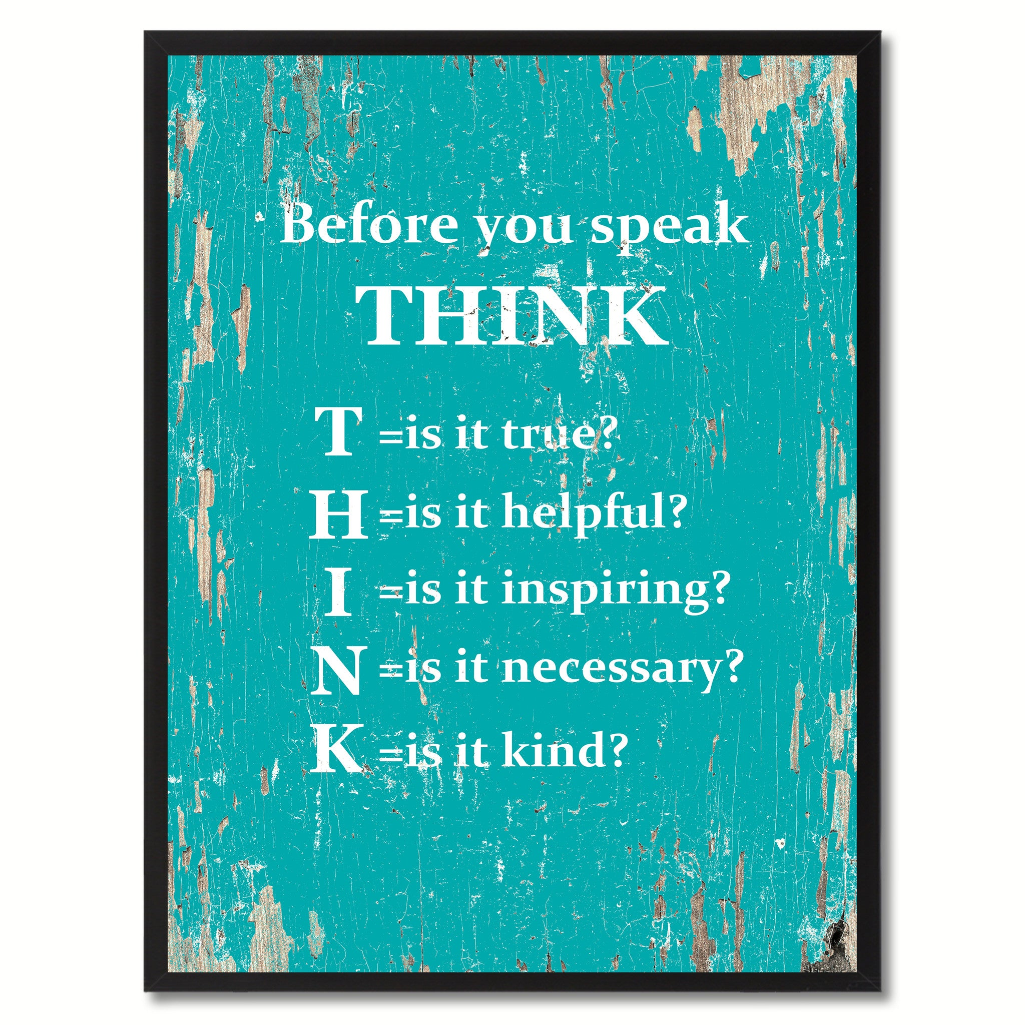Before You Speak Think Saying Canvas Print, Black Picture Frame Home Decor Wall Art Gifts