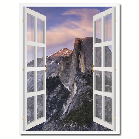 Half Dome Yosemite National Park Picture French Window Canvas Print with Frame Gifts Home Decor Wall Art Collection