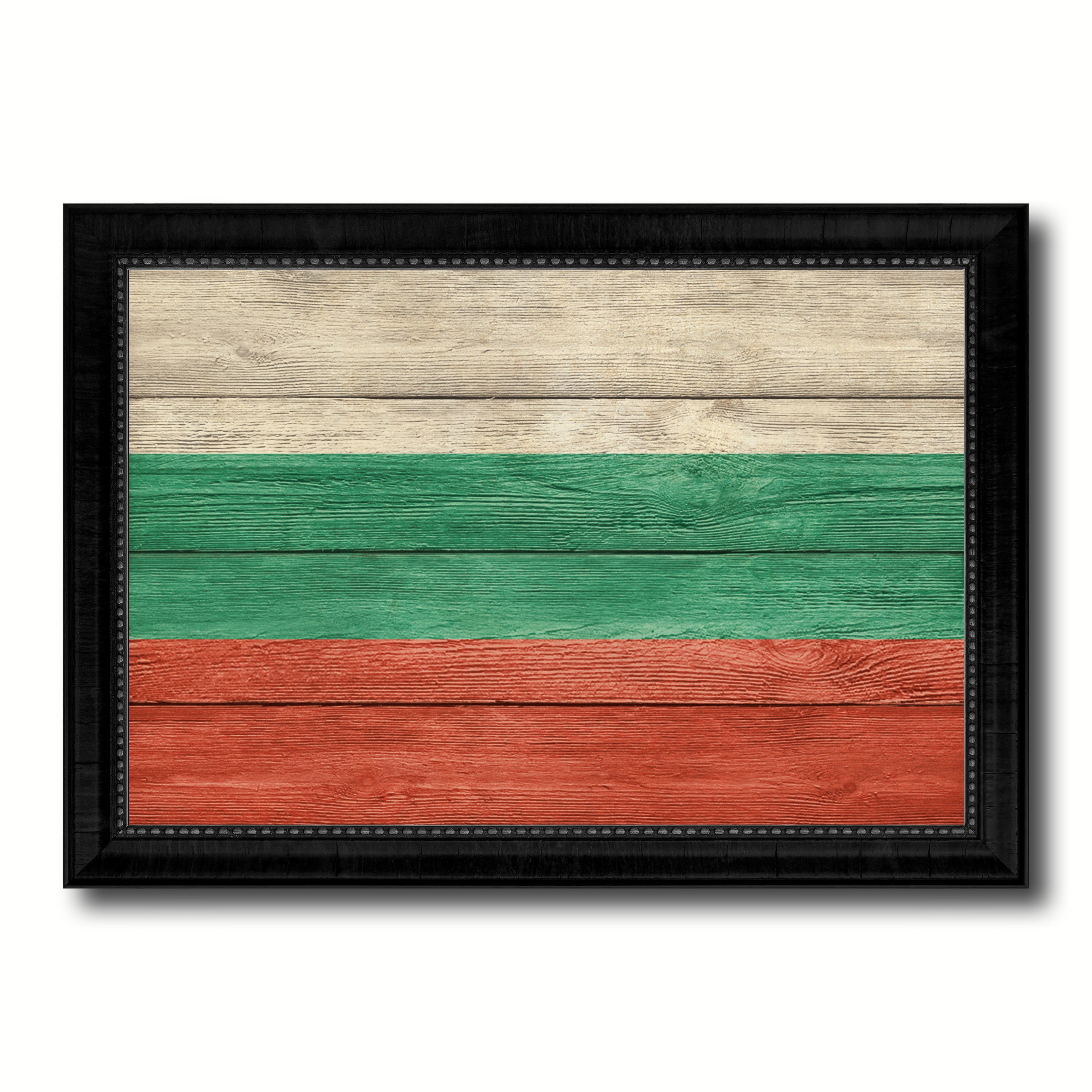 Bulgaria Country Flag Texture Canvas Print with Black Picture Frame Home Decor Wall Art Decoration Collection Gift Ideas