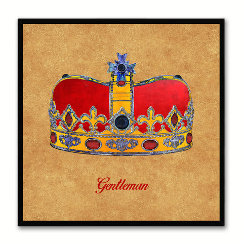 Gentleman Brown Canvas Print Black Frame Kids Bedroom Wall Home Décor