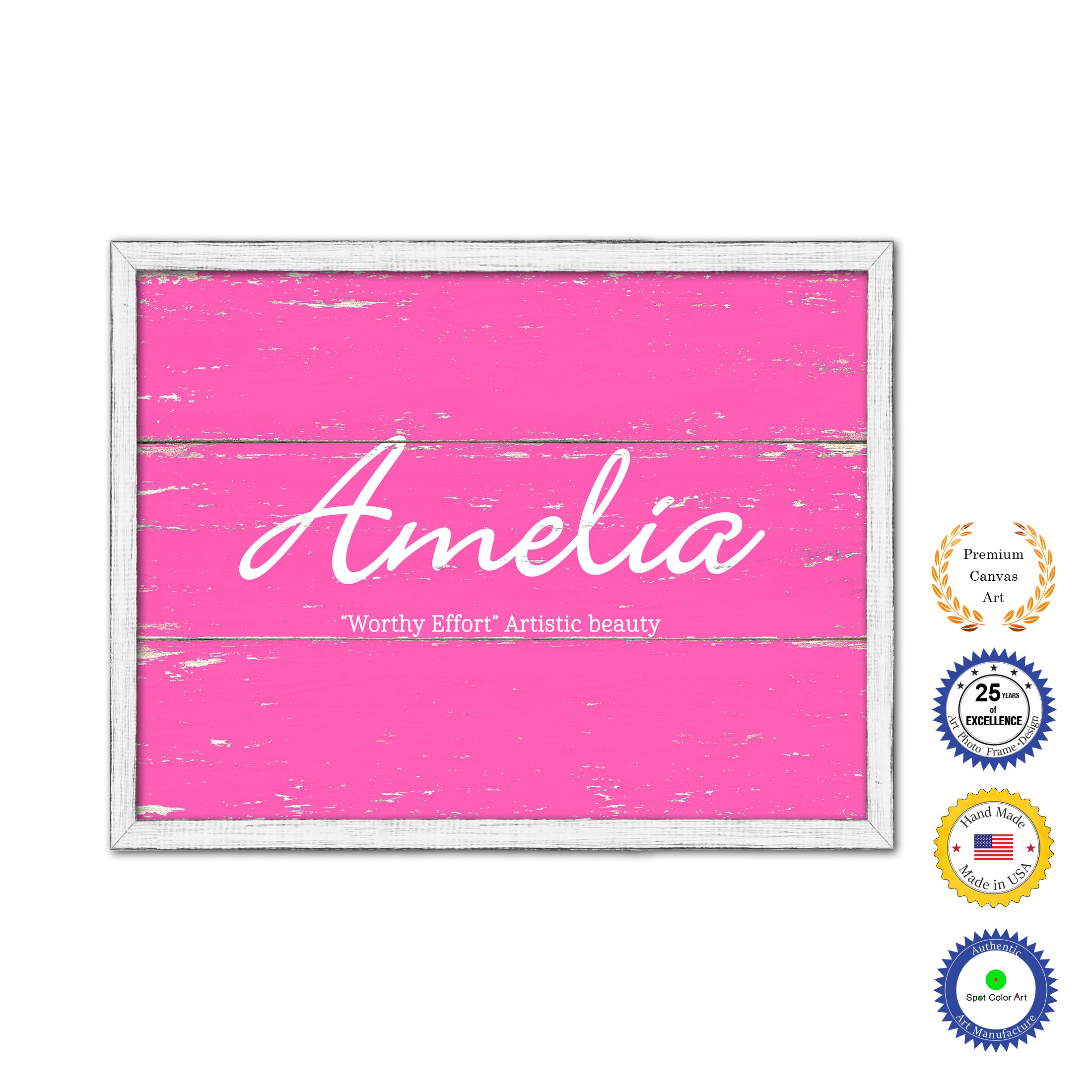 Amelia Name Plate White Wash Wood Frame Canvas Print Boutique Cottage Decor Shabby Chic