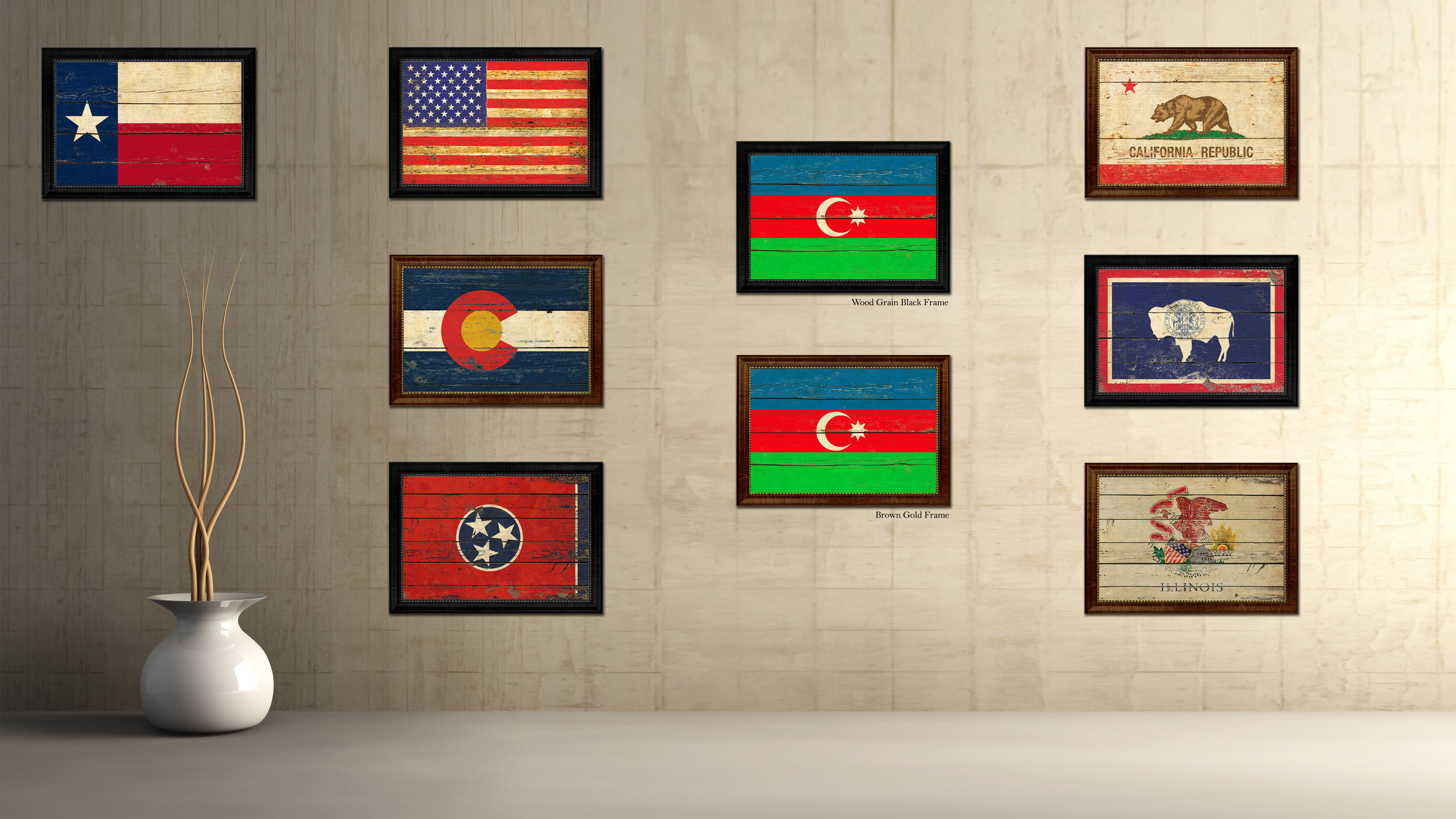 Azerbaijan Country Flag Vintage Canvas Print with Brown Picture Frame Home Decor Gifts Wall Art Decoration Artwork