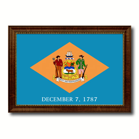 Delaware State Flag Canvas Print with Custom Brown Picture Frame Home Decor Wall Art Decoration Gifts