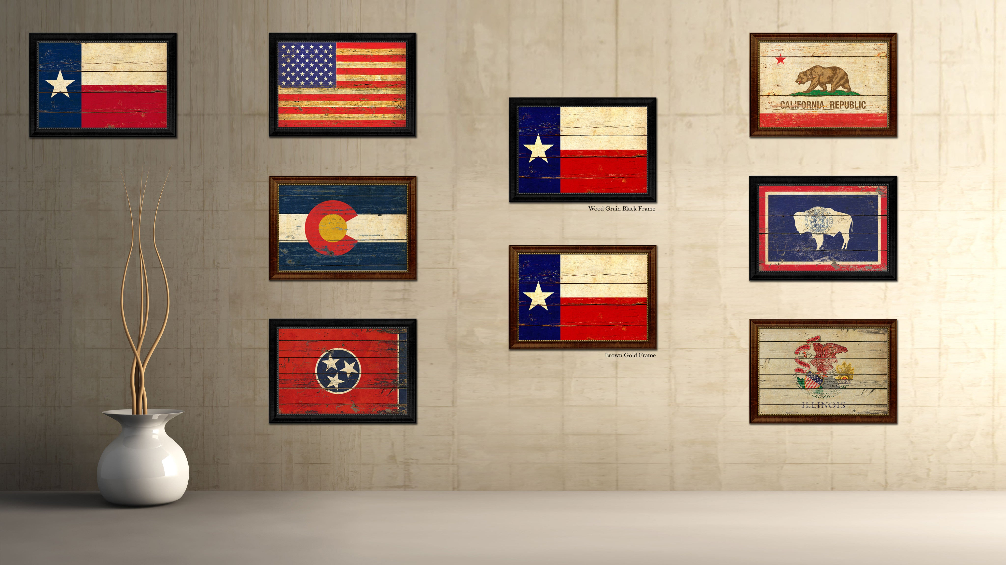 Texas State Vintage Map Gifts Home Decor Wall Art Office: Texas State Vintage Flag Canvas With Black Print Picture
