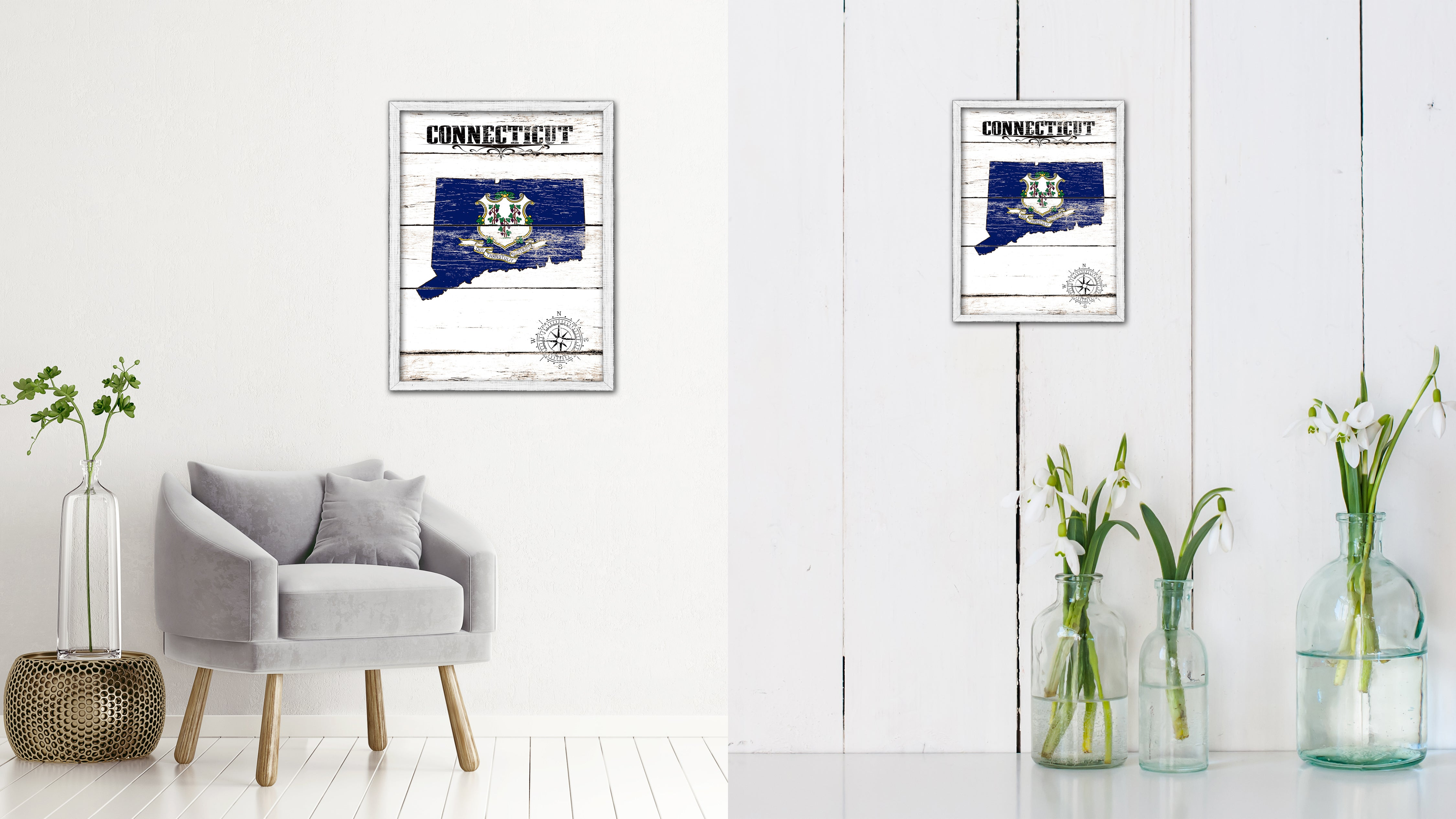 Connecticut Flag Gifts Home Decor Wall Art Canvas Print with Custom Picture Frame