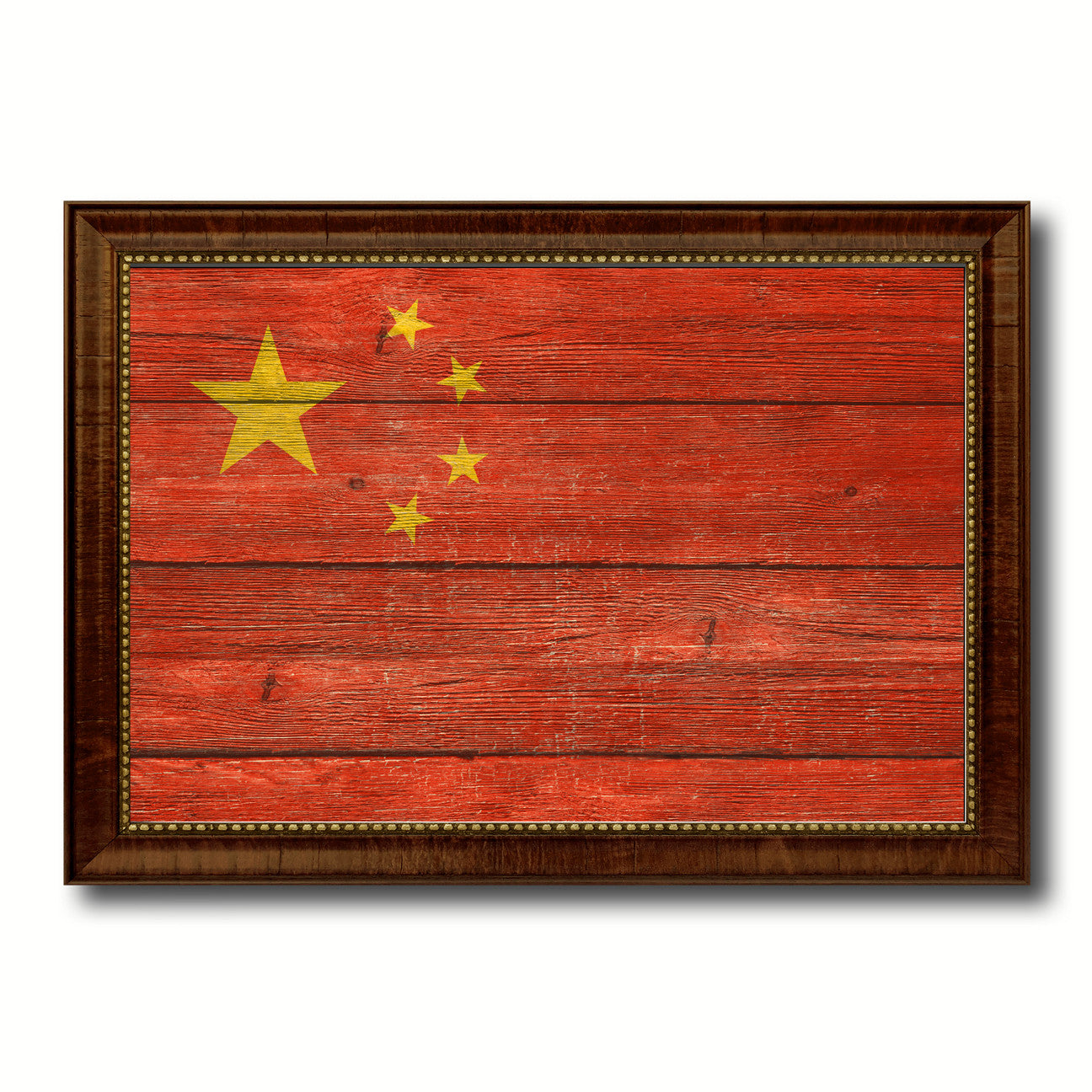 China Country Flag Texture Canvas Print with Brown Custom Picture Frame Home Decor Gift Ideas Wall Art Decoration