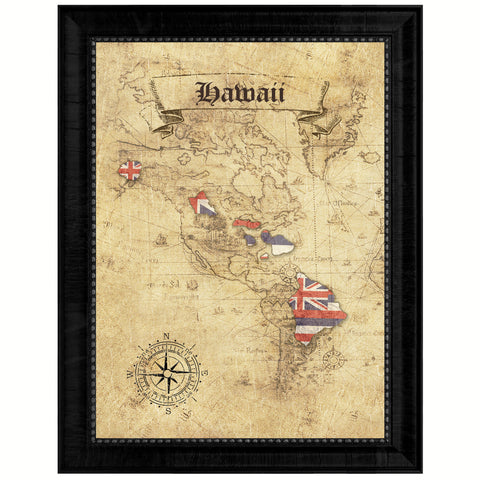 Hawaii State Vintage Map Gifts Home Decor Wall Art Office Decoration